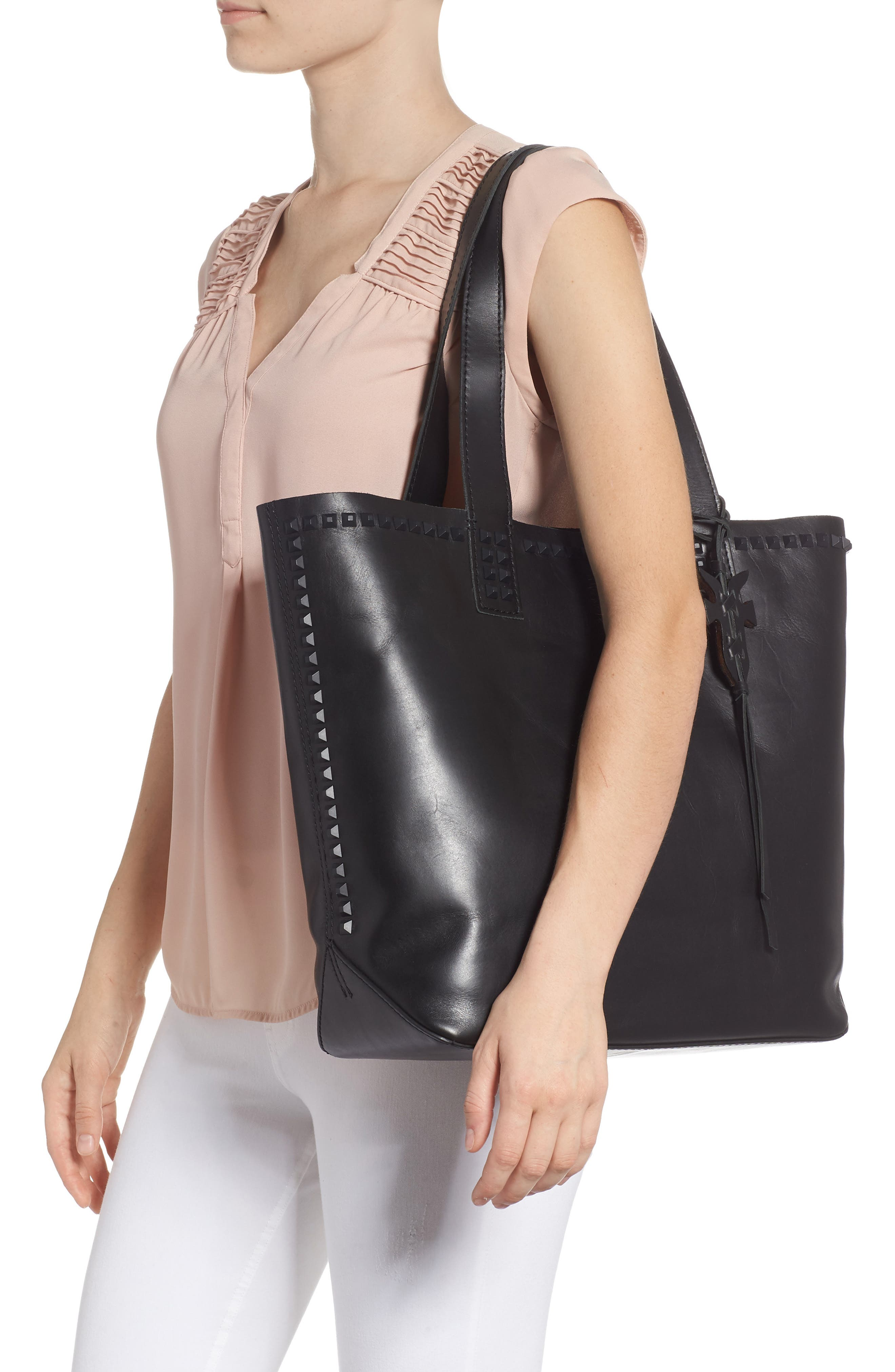 Carson Studded Leather Tote,                             Alternate thumbnail 2, color,                             BLACK