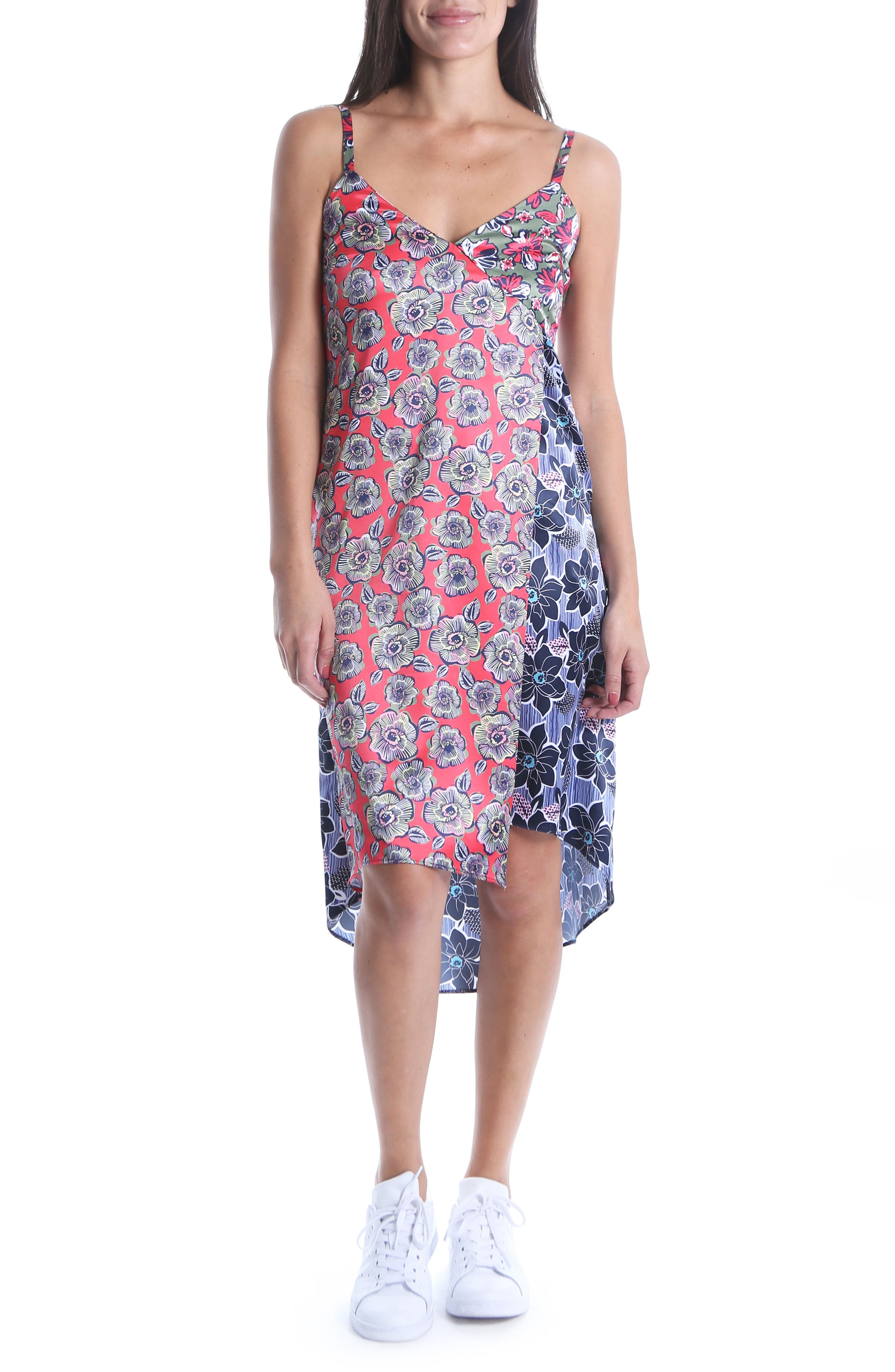 Kut From The Kloth Calah Block Print High/low Dress, Coral