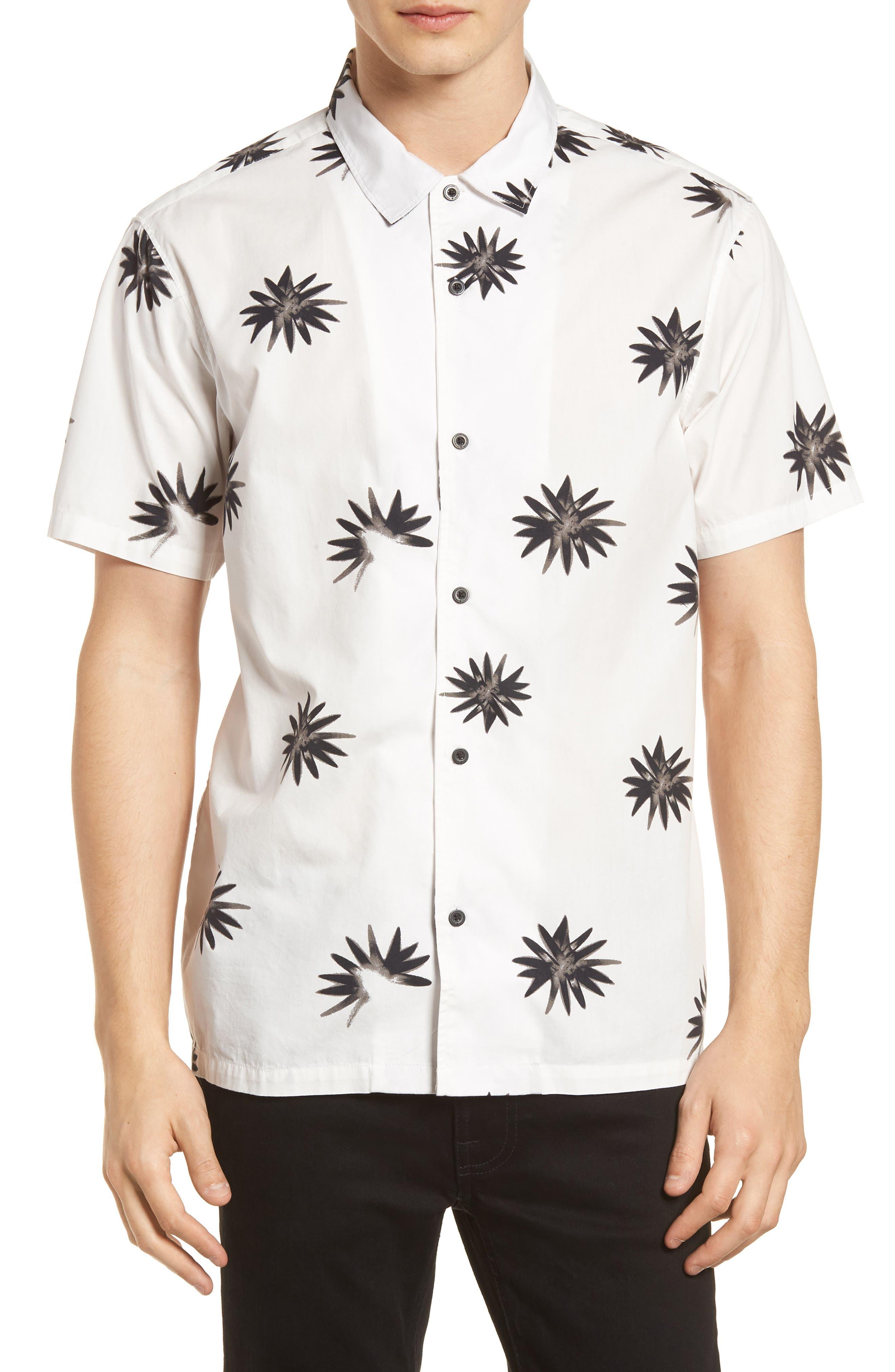 Villa Floral Woven Shirt,                         Main,                         color, WHITE