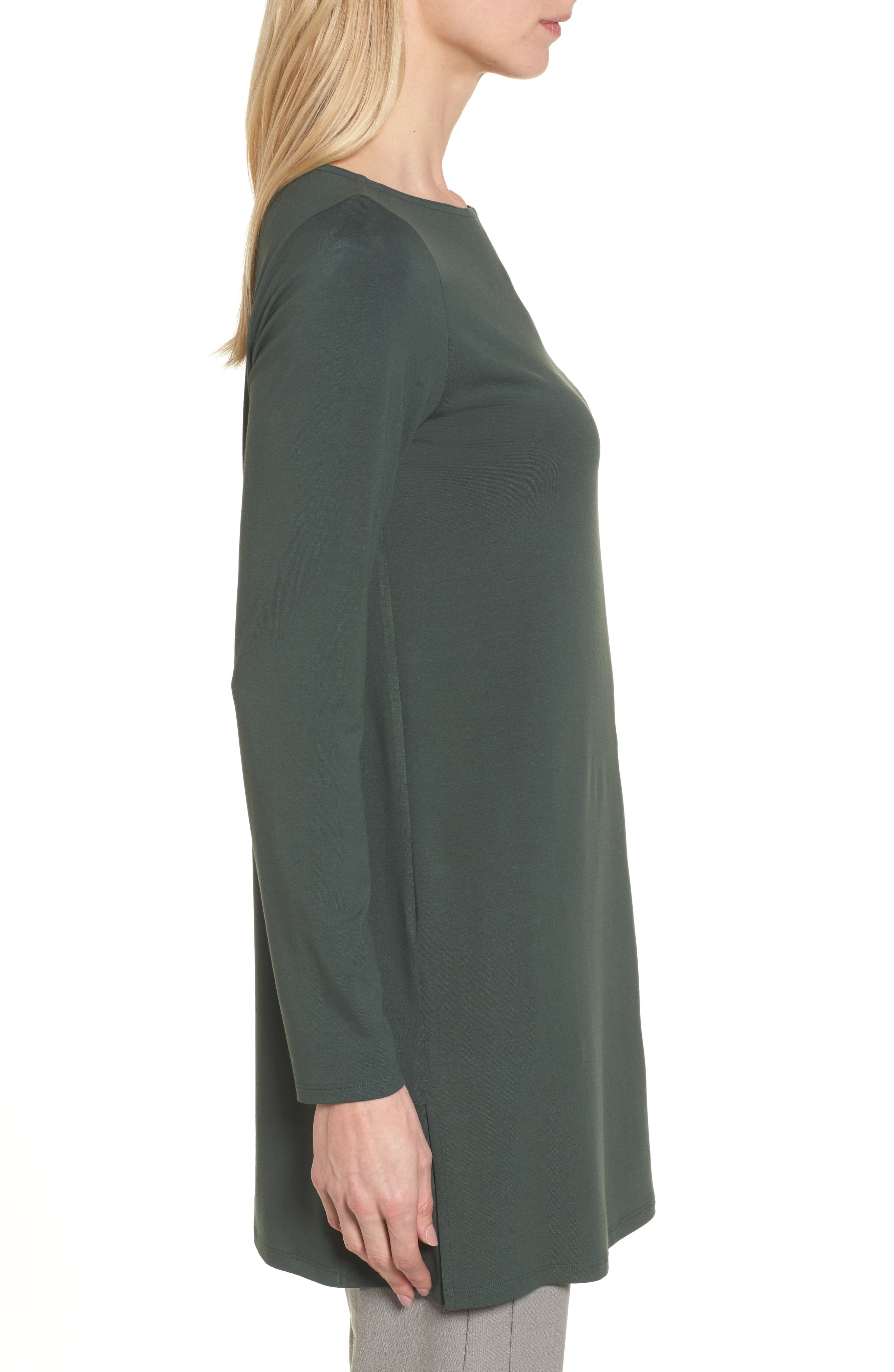 Jersey Bateau Neck Tunic,                             Alternate thumbnail 3, color,                             351