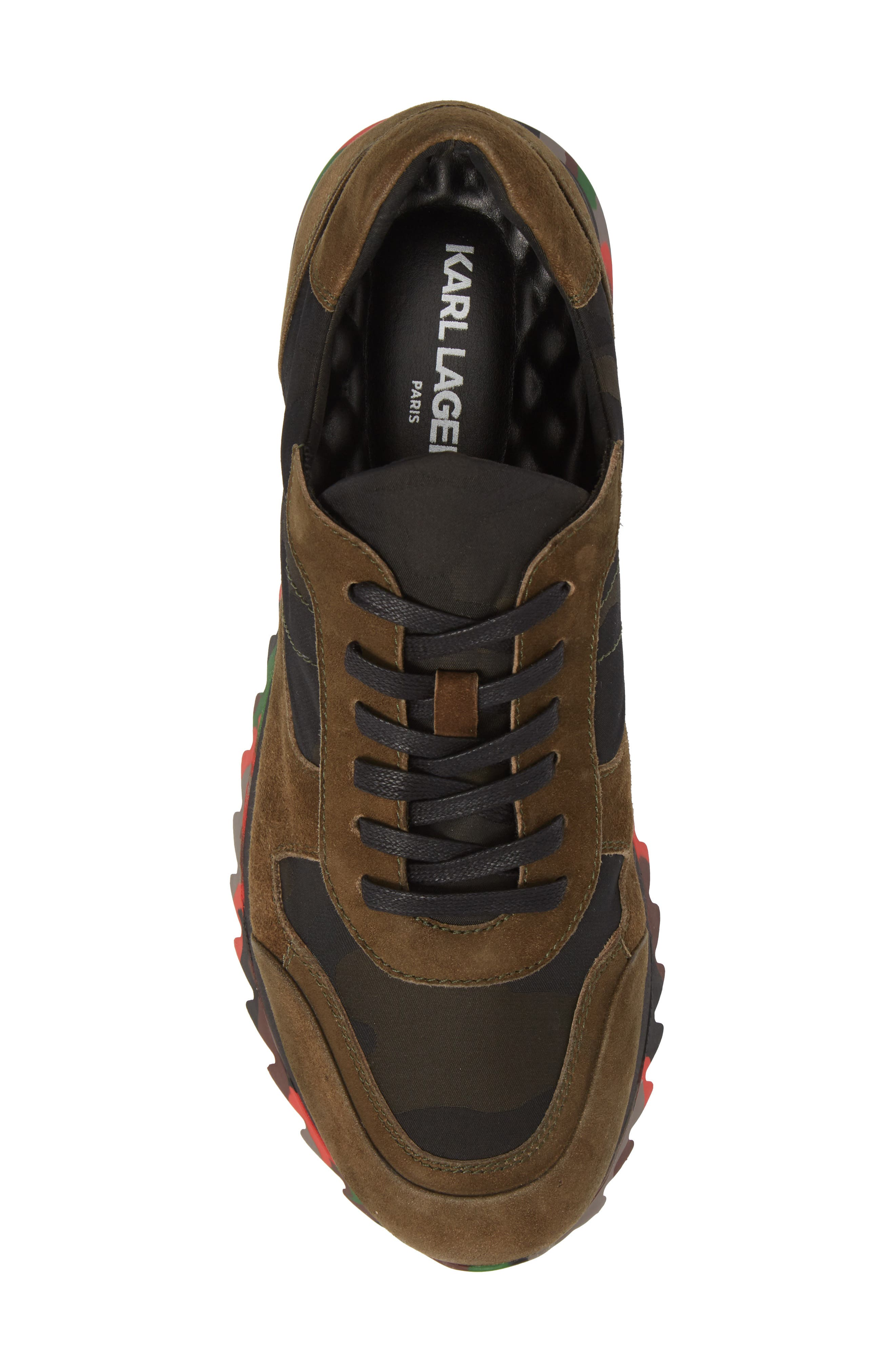 Camo Print Sneaker,                             Alternate thumbnail 5, color,                             OLIVE