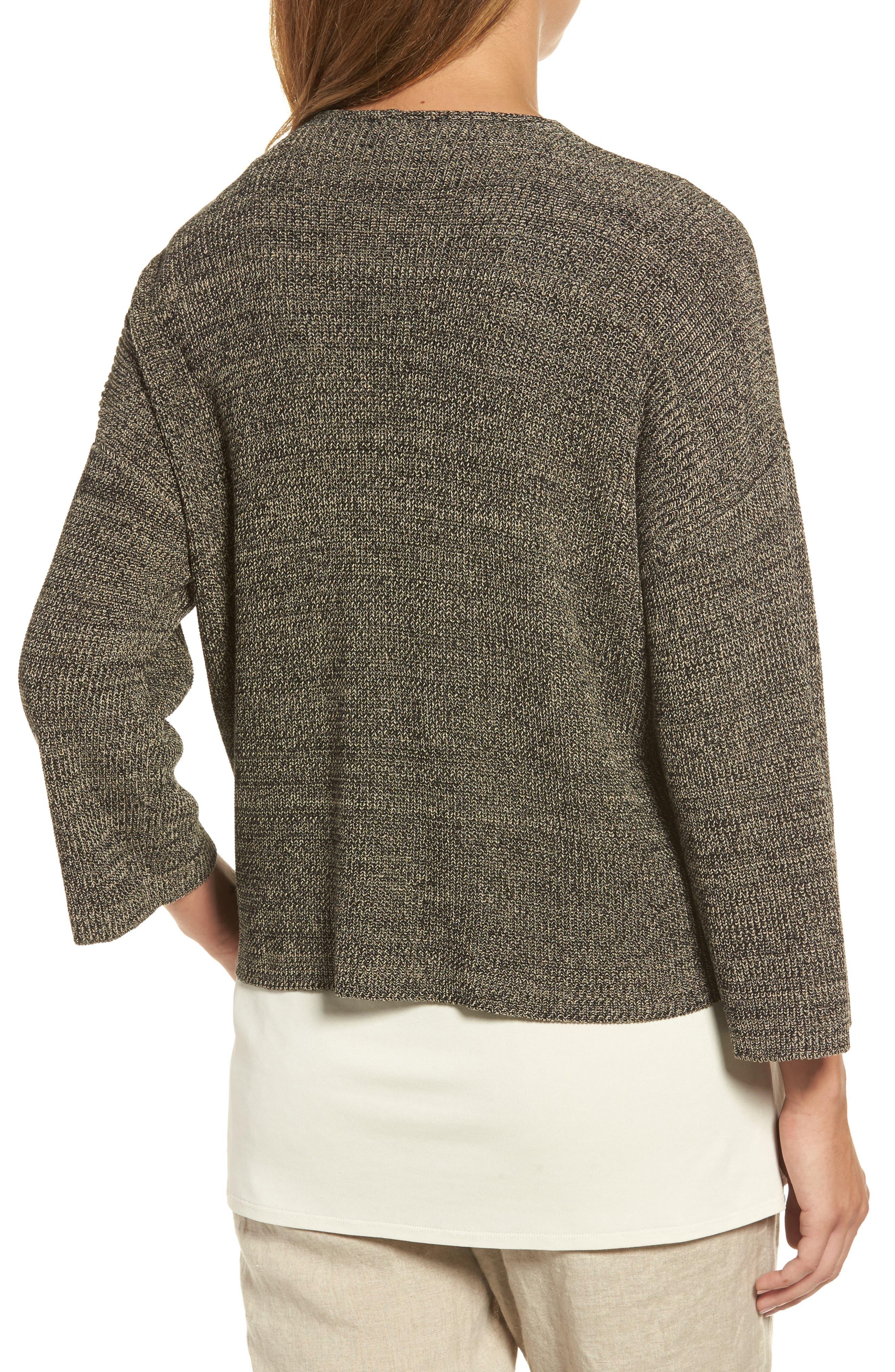 Mélange Knit Tencel<sup>®</sup> Crop Sweater,                             Alternate thumbnail 2, color,                             001