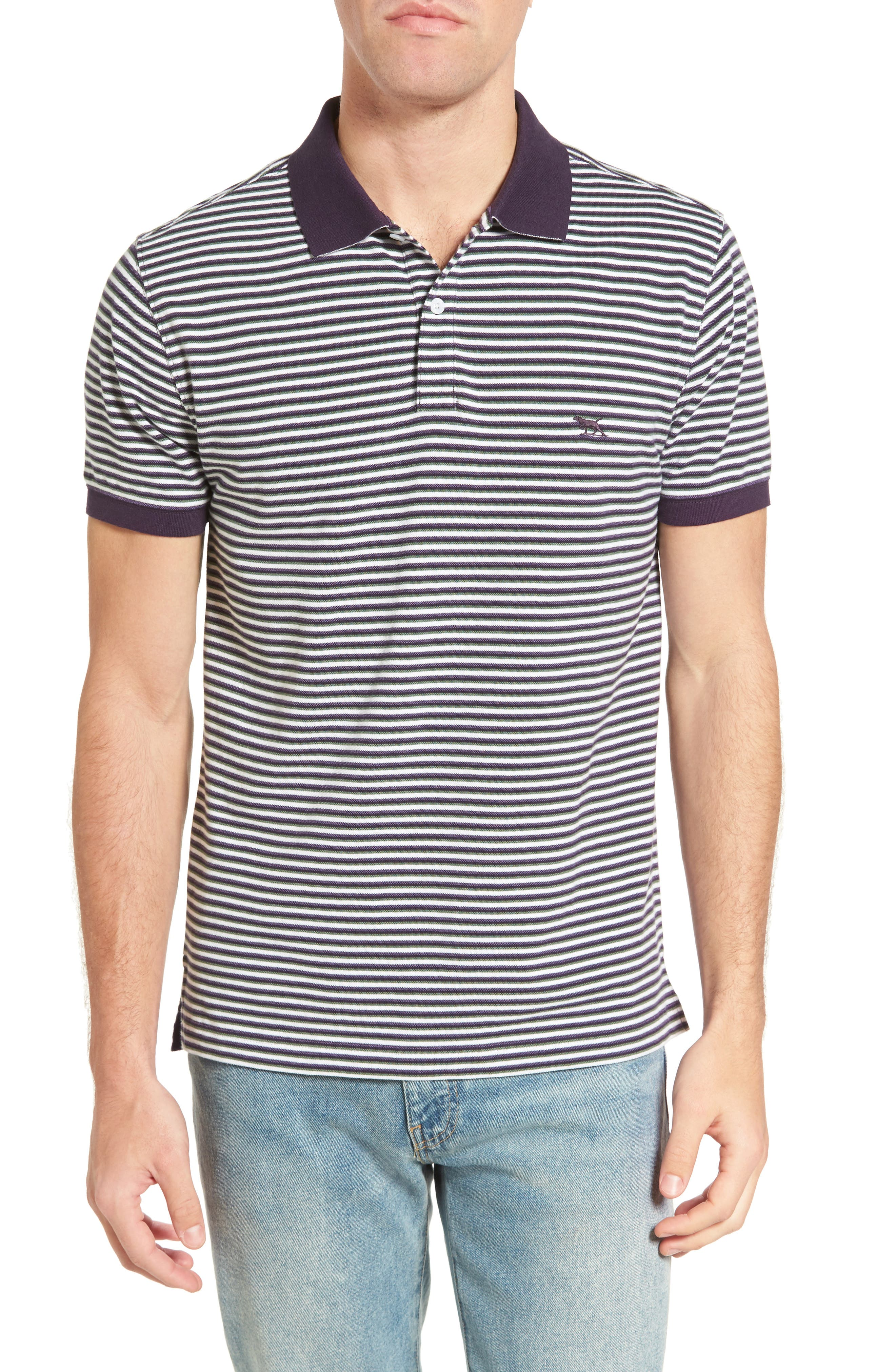 Swyers Point Sports Fit Stripe Polo,                         Main,                         color, 581