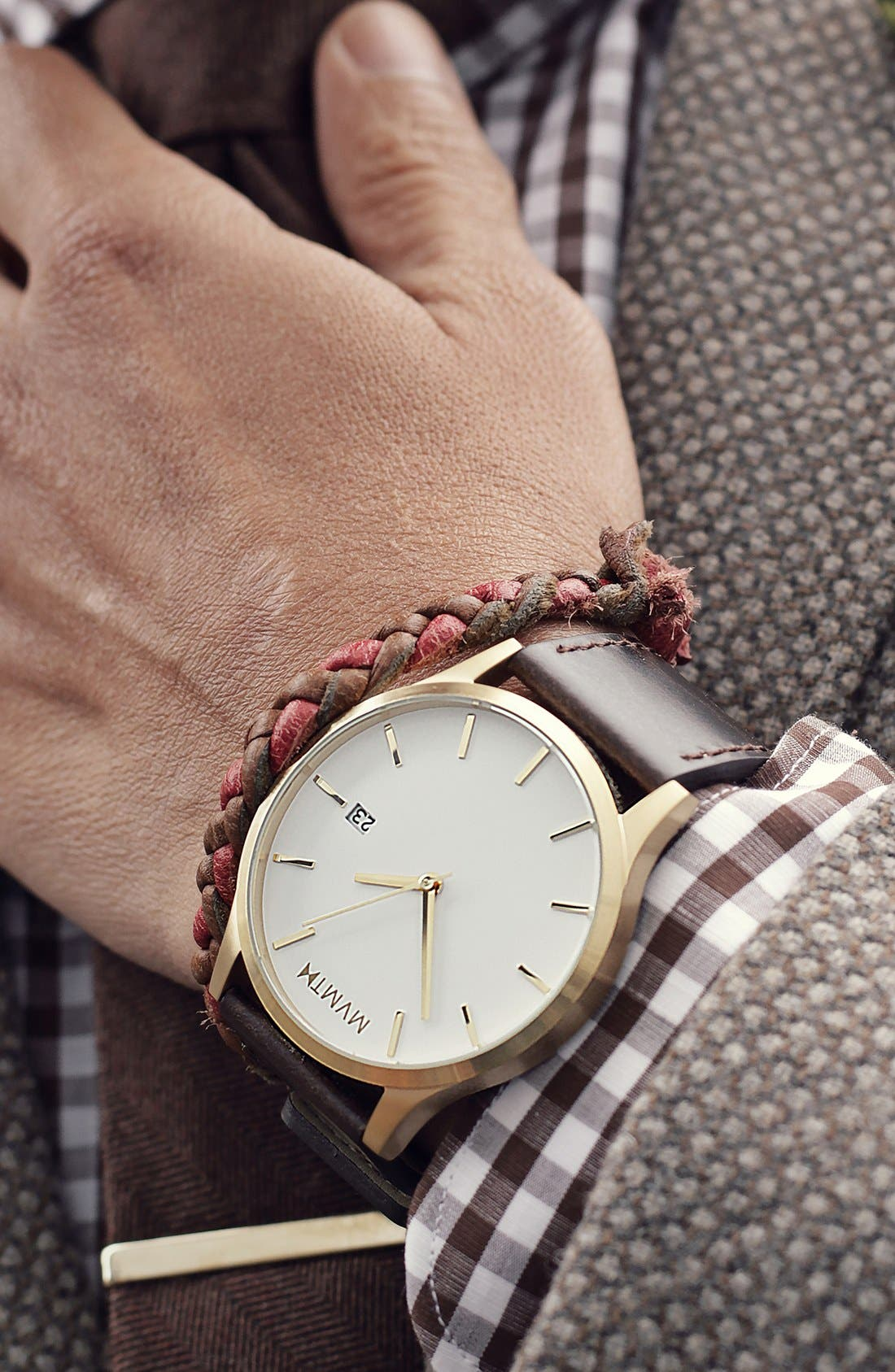 Leather Strap Watch, 45mm,                             Alternate thumbnail 4, color,