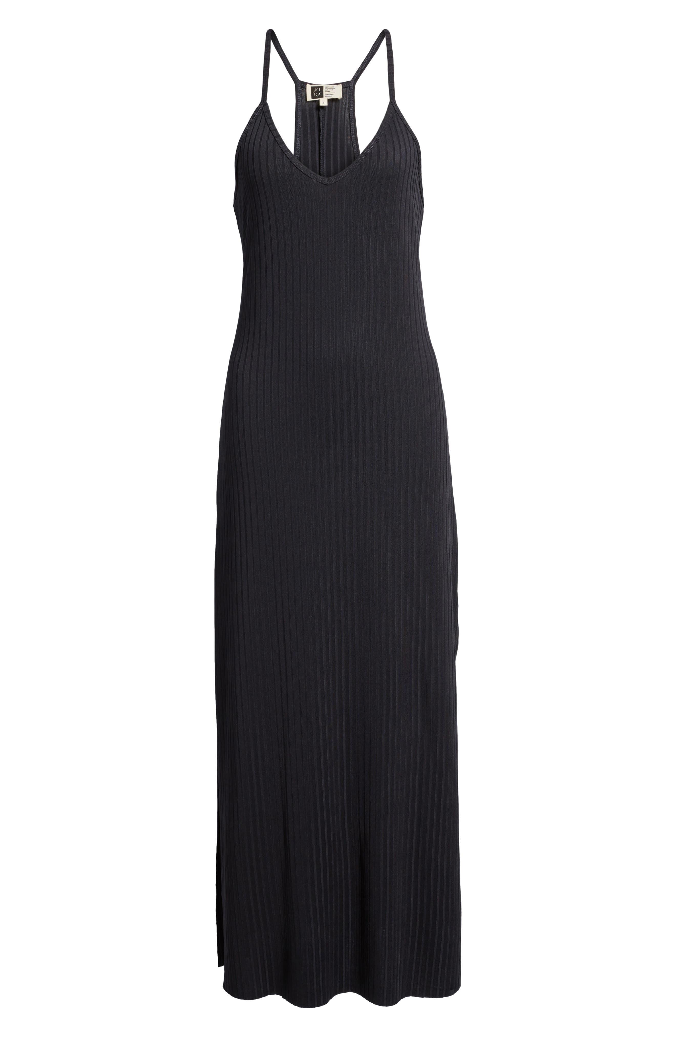 Ashlynn Ribbed Maxi Dress,                             Alternate thumbnail 6, color,                             NAVY