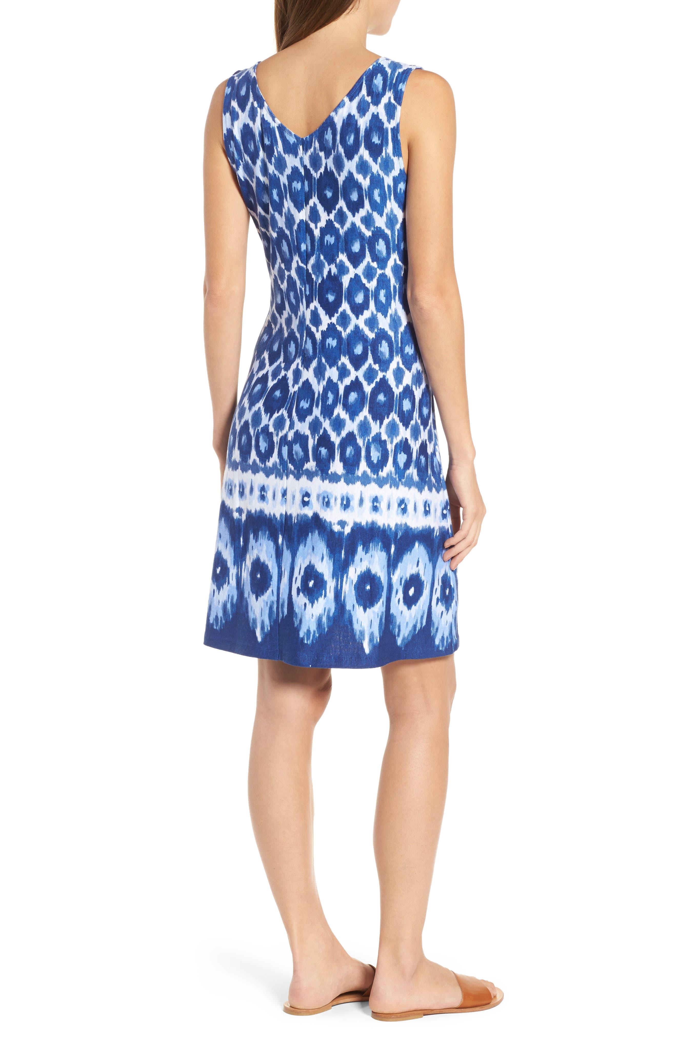 Innercoastal Ikat Sleeveless Dress,                             Alternate thumbnail 2, color,                             KINGDOM BLUE