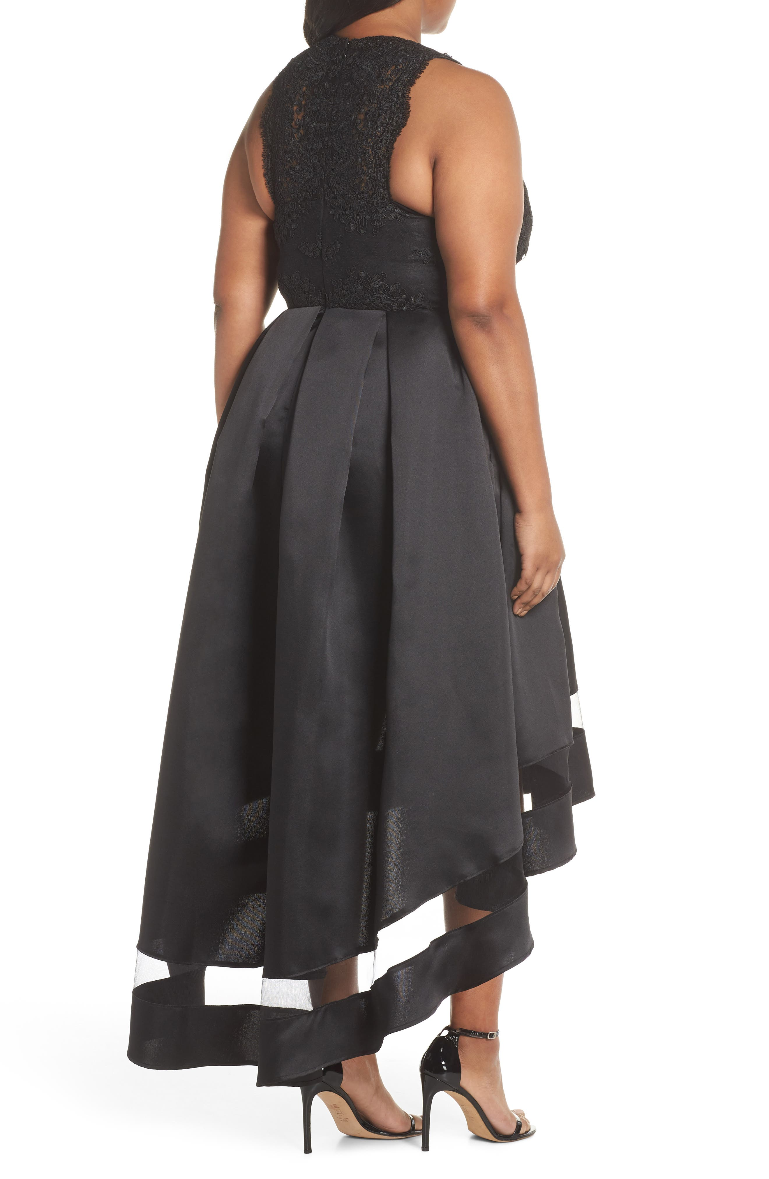 Lace & Pleated High/Low Gown,                             Alternate thumbnail 2, color,                             BLACK