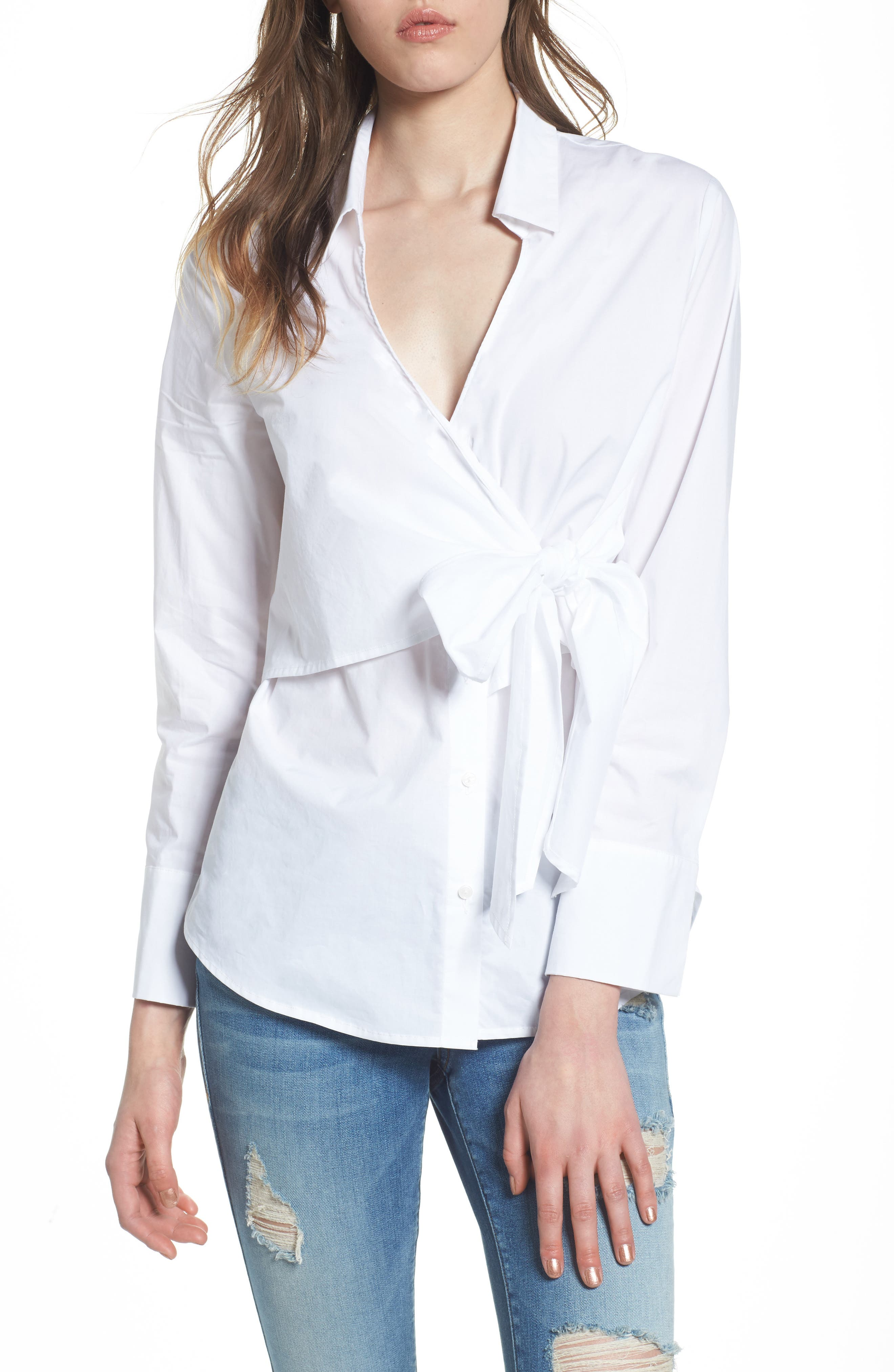 Tie Front Poplin Blouse,                             Main thumbnail 1, color,                             100