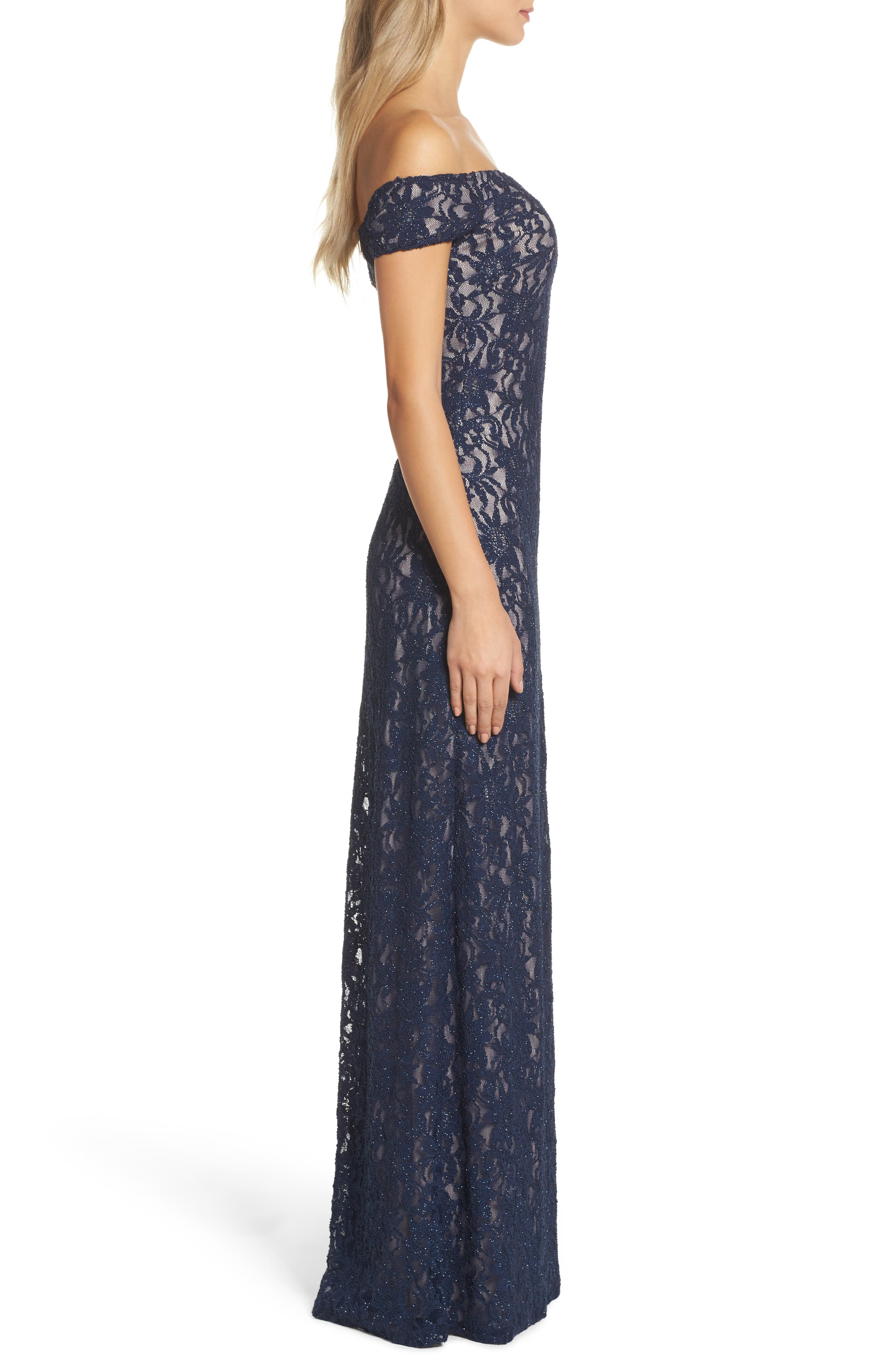Off the Shoulder Glitter Lace Gown,                             Alternate thumbnail 3, color,