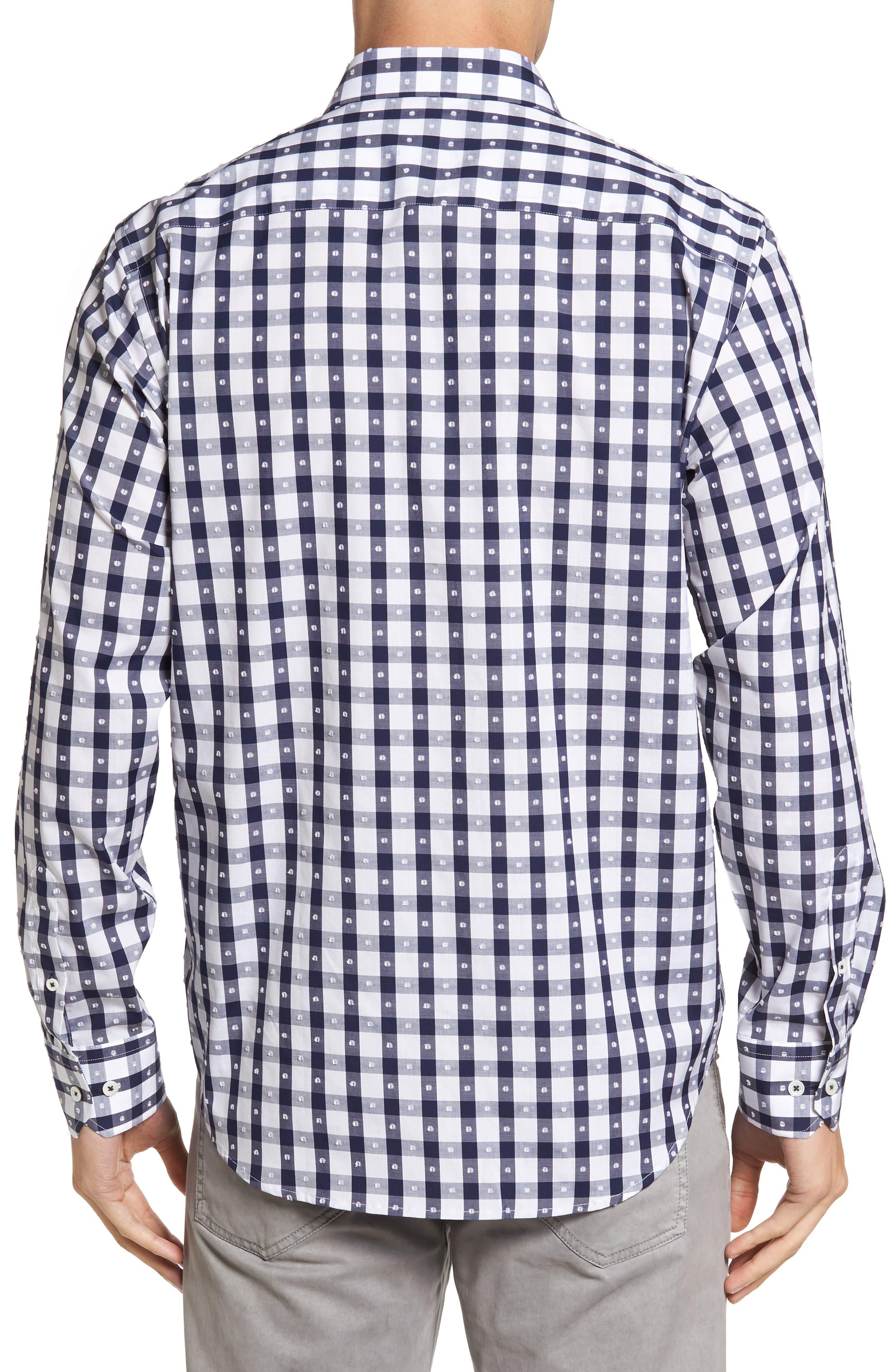 Classic Fit Dot & Gingham Check Sport Shirt,                             Alternate thumbnail 2, color,                             411