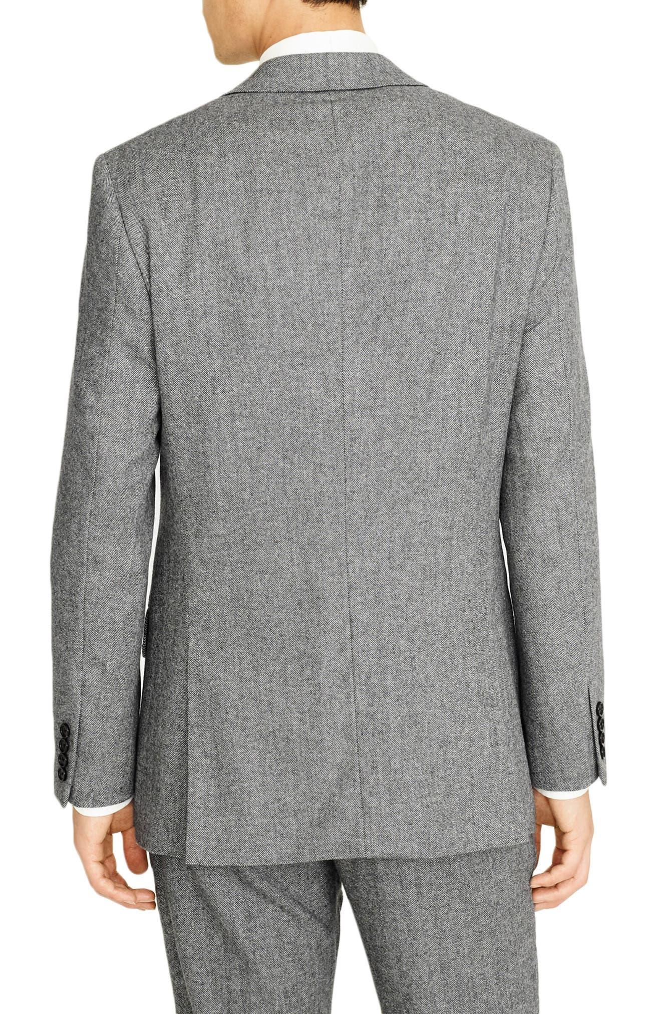 Ludlow Slim Fit Herringbone Wool Blend Suit Jacket,                             Alternate thumbnail 2, color,                             GREY HERRINGBONE