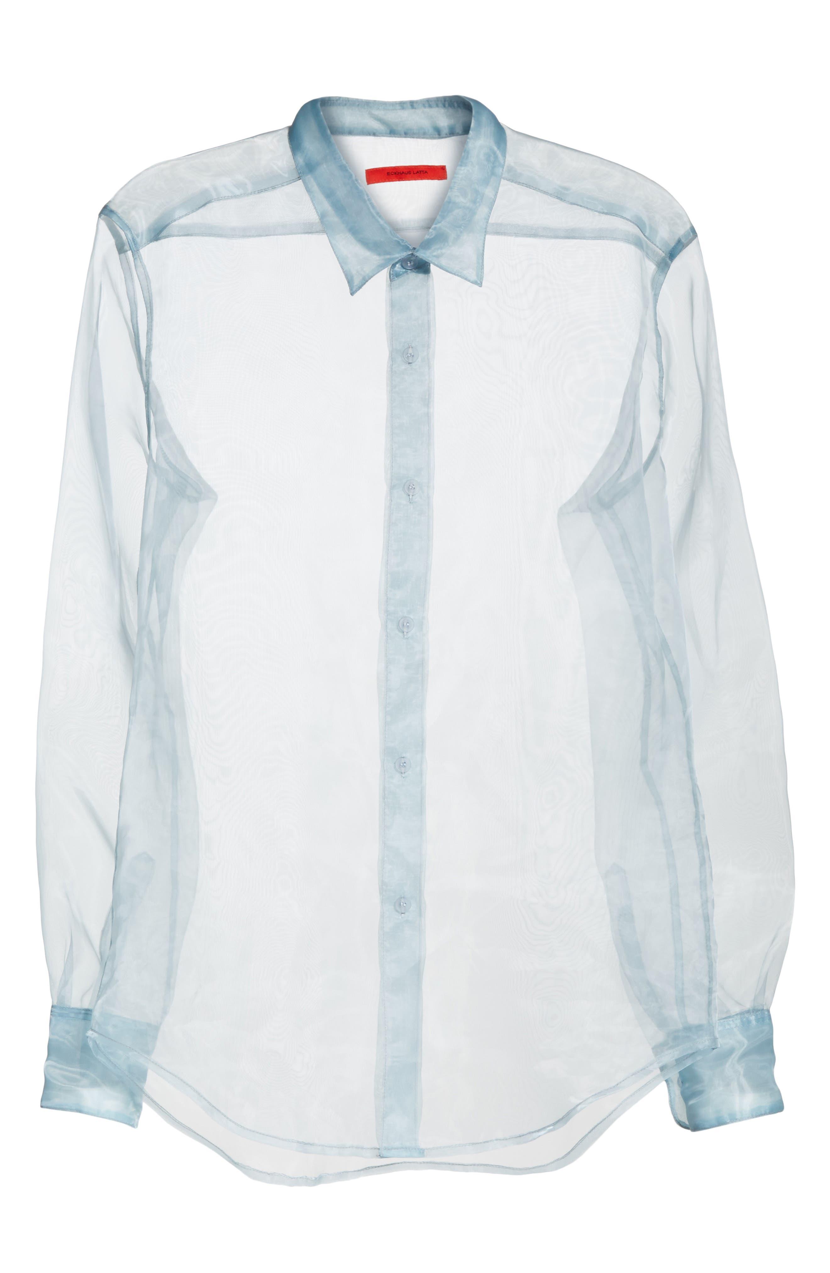 Iridescent Sheer Organza Shirt,                             Alternate thumbnail 6, color,                             400