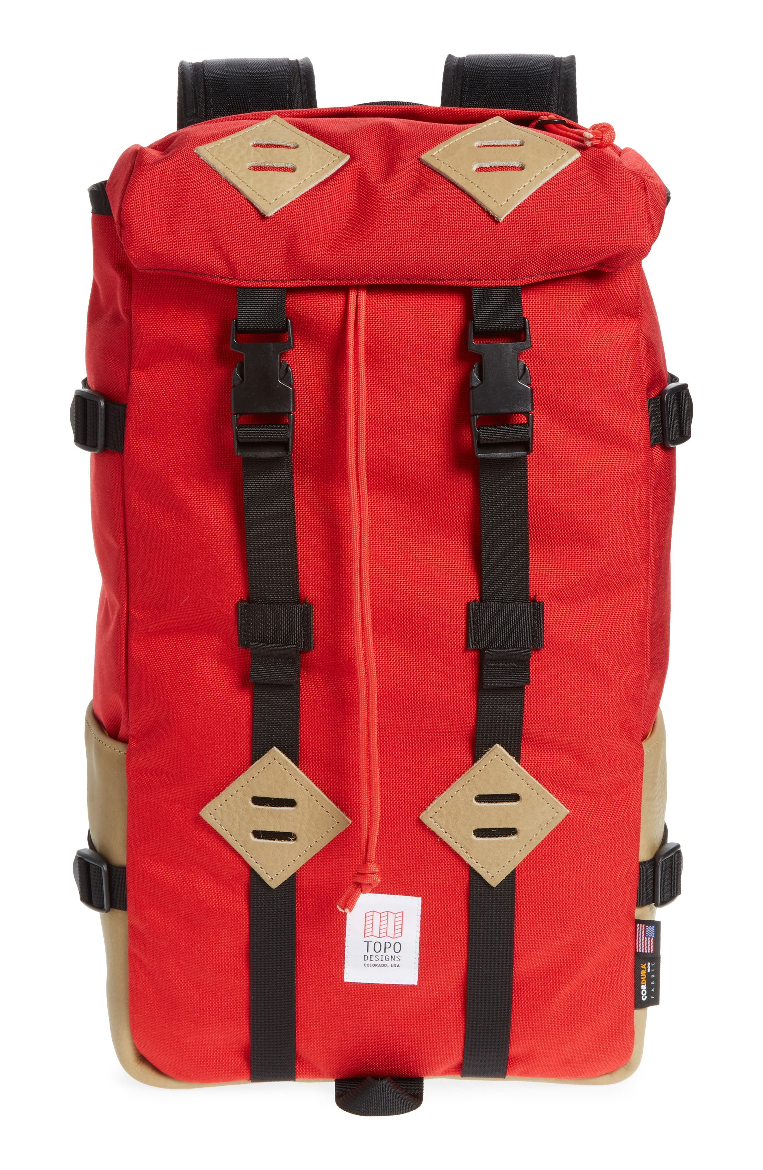 'Klettersack' Backpack,                             Main thumbnail 1, color,                             RED/KHAKI LEATHER
