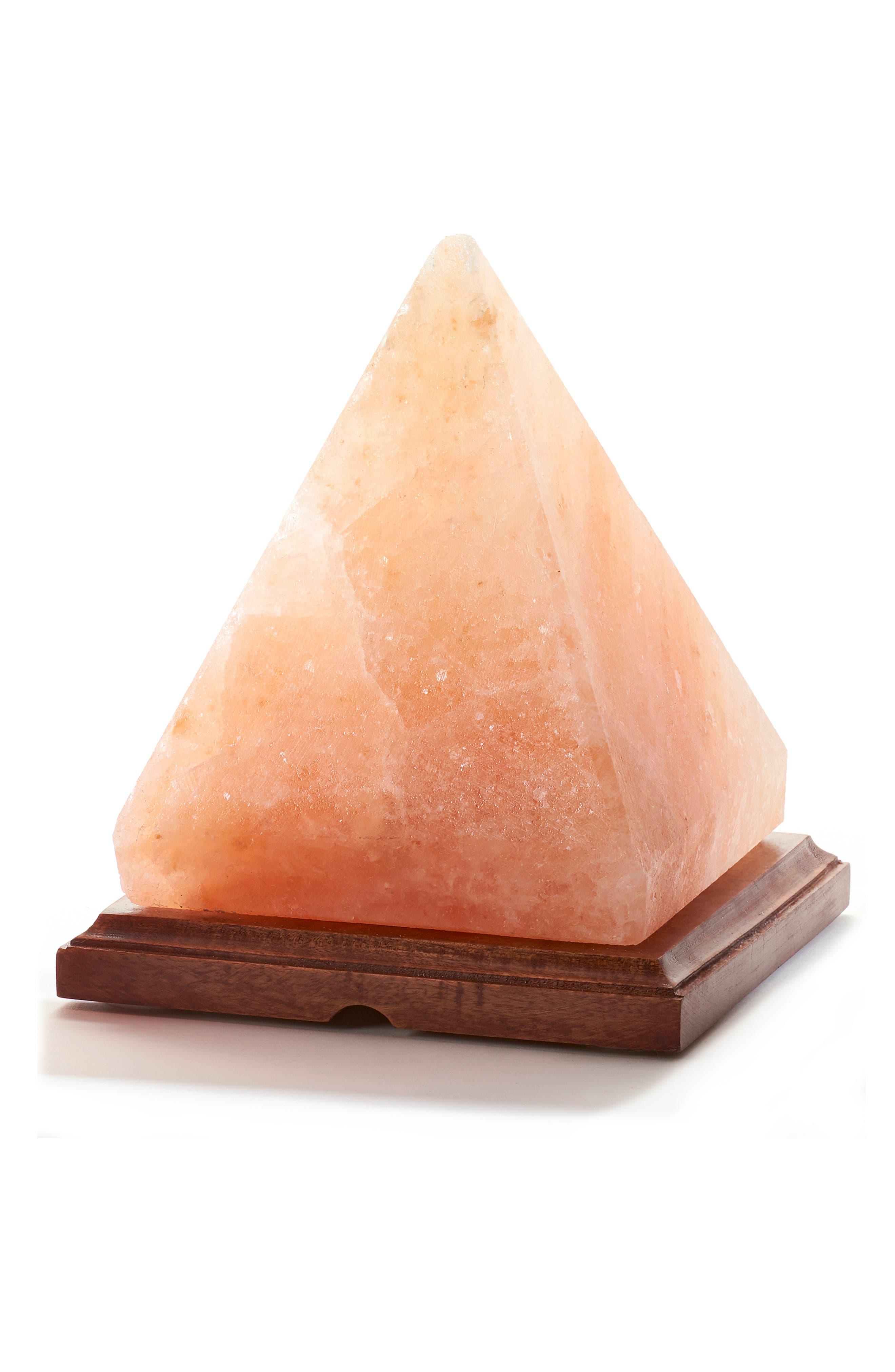 Himalayan Crystal Salt Pyramid Lamp, Main, color, PINK