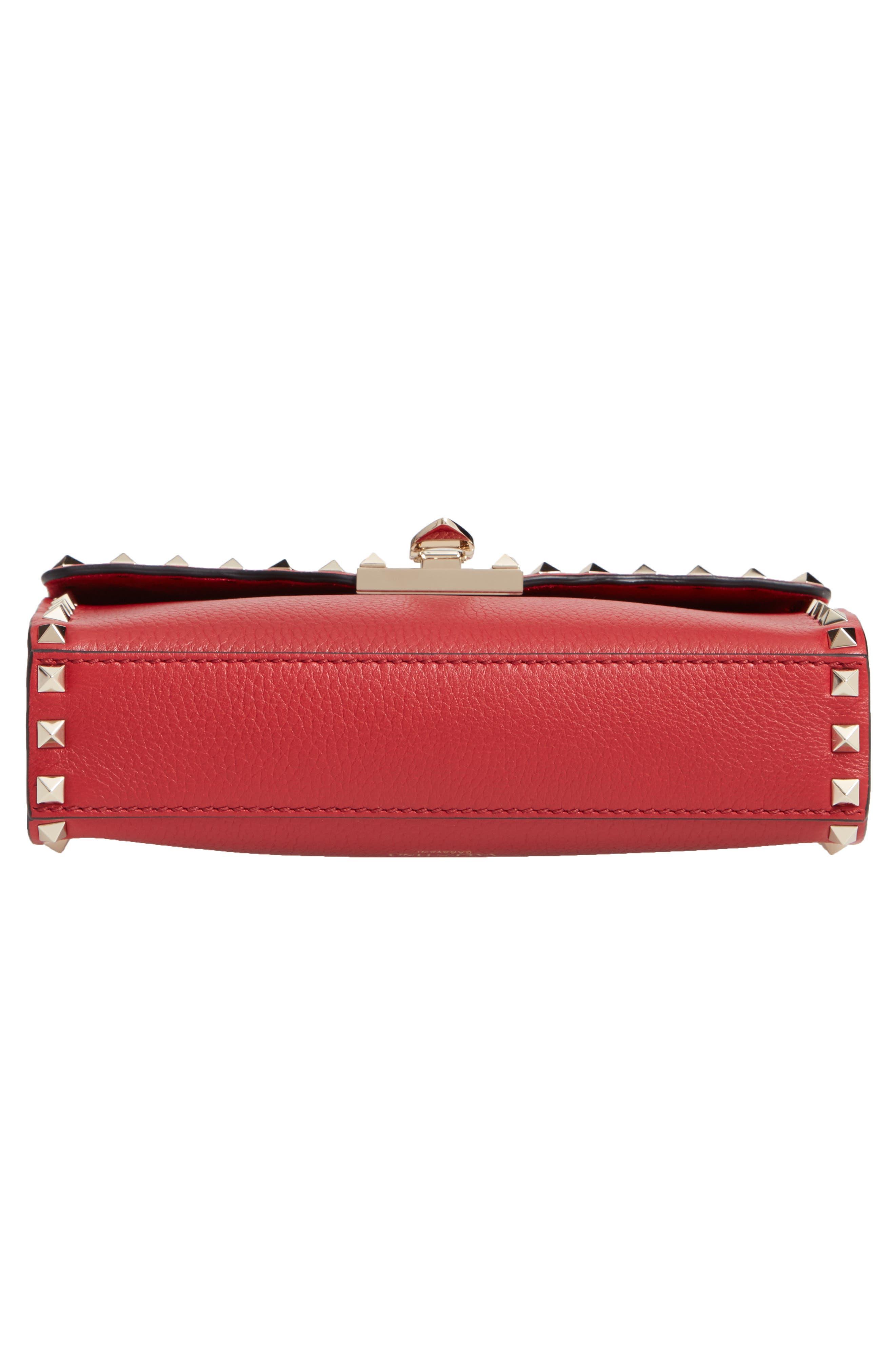 Medium Rockstud Leather Crossbody Bag,                             Alternate thumbnail 6, color,                             ROSSO V