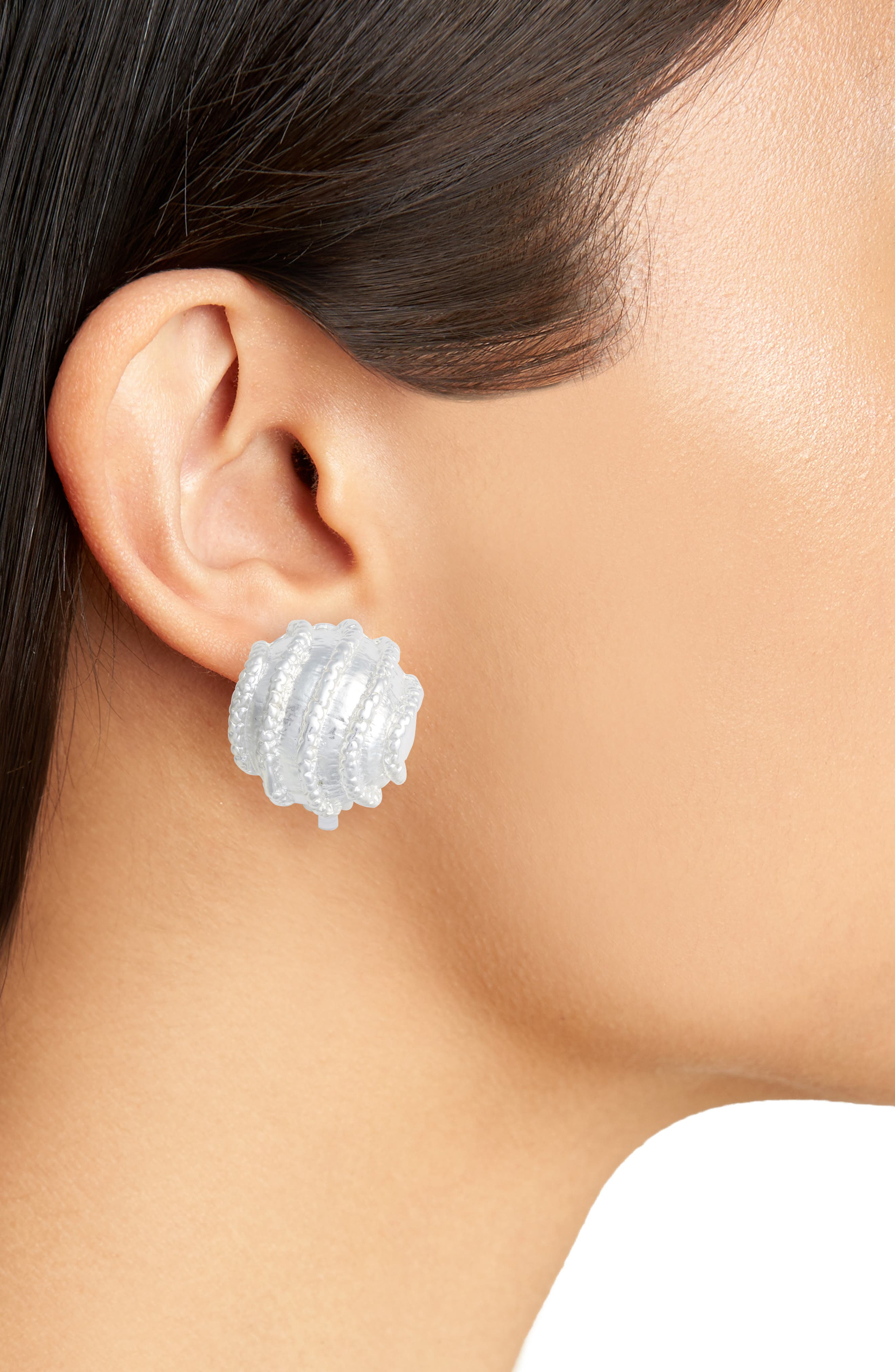 Large Clip-On Stud Earings,                             Alternate thumbnail 2, color,                             SILVER