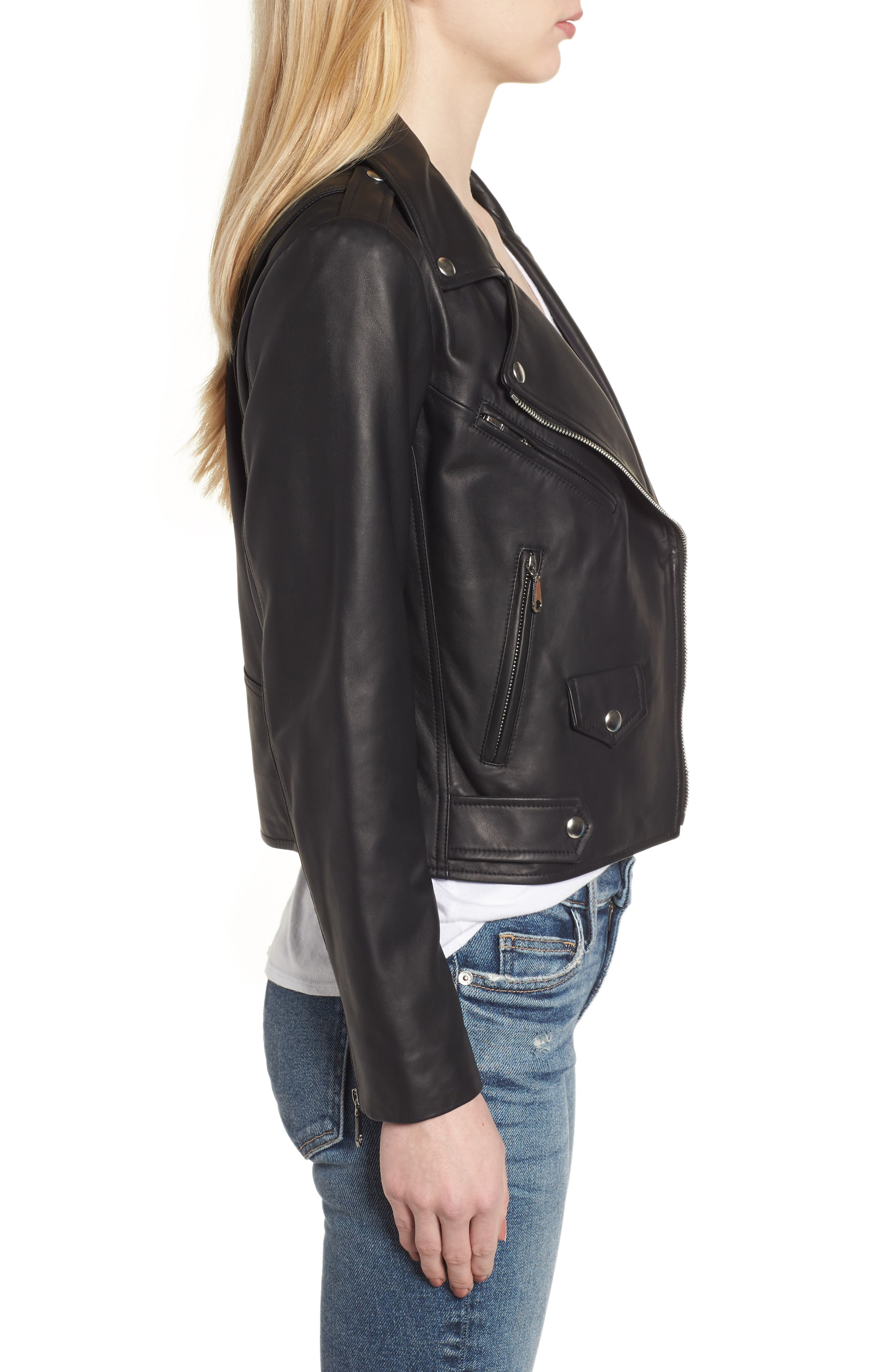 Wes Leather Moto Jacket,                             Alternate thumbnail 3, color,                             002