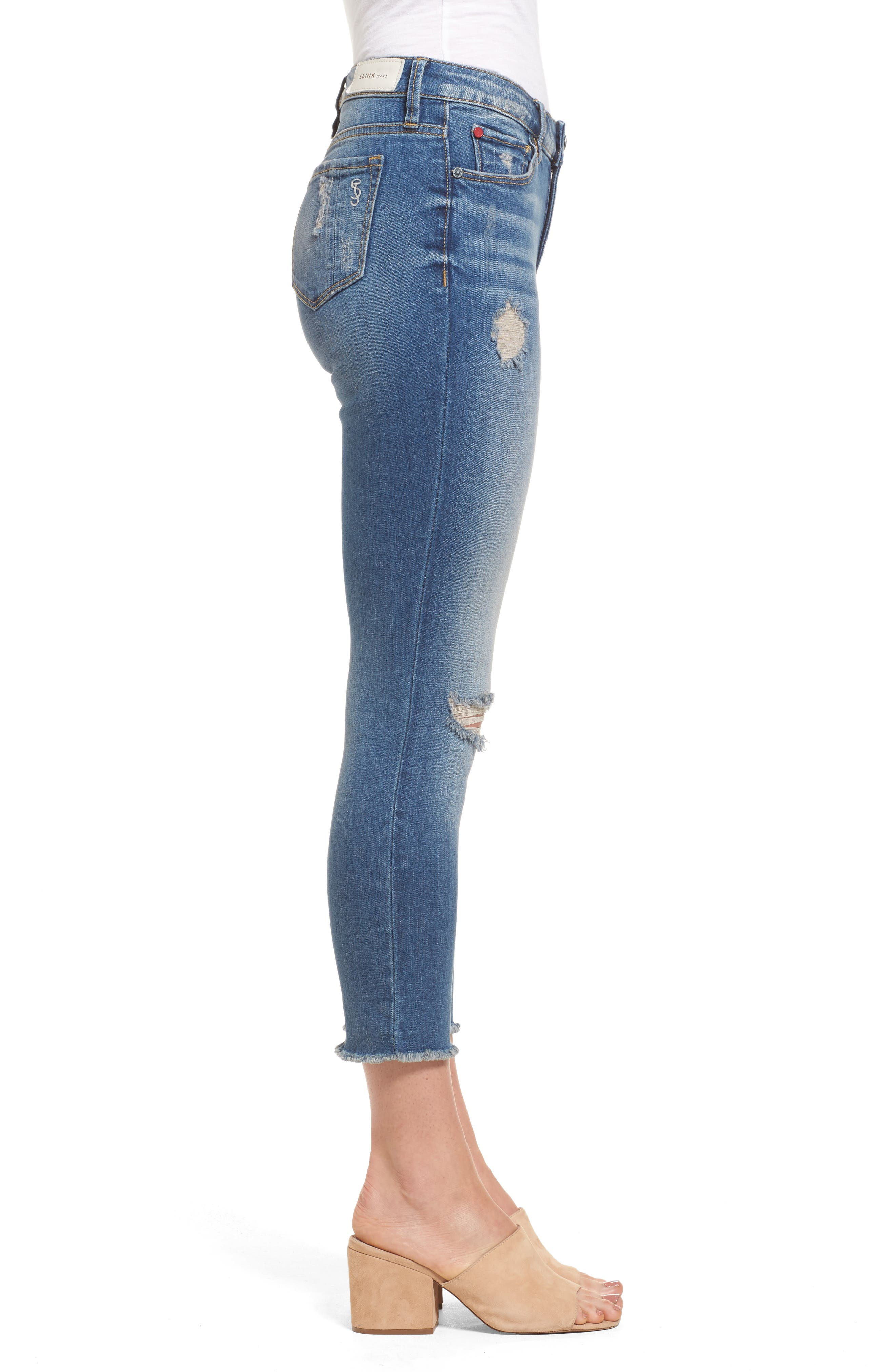 Frayed Hem Crop Jeans,                             Alternate thumbnail 3, color,                             CARALYN