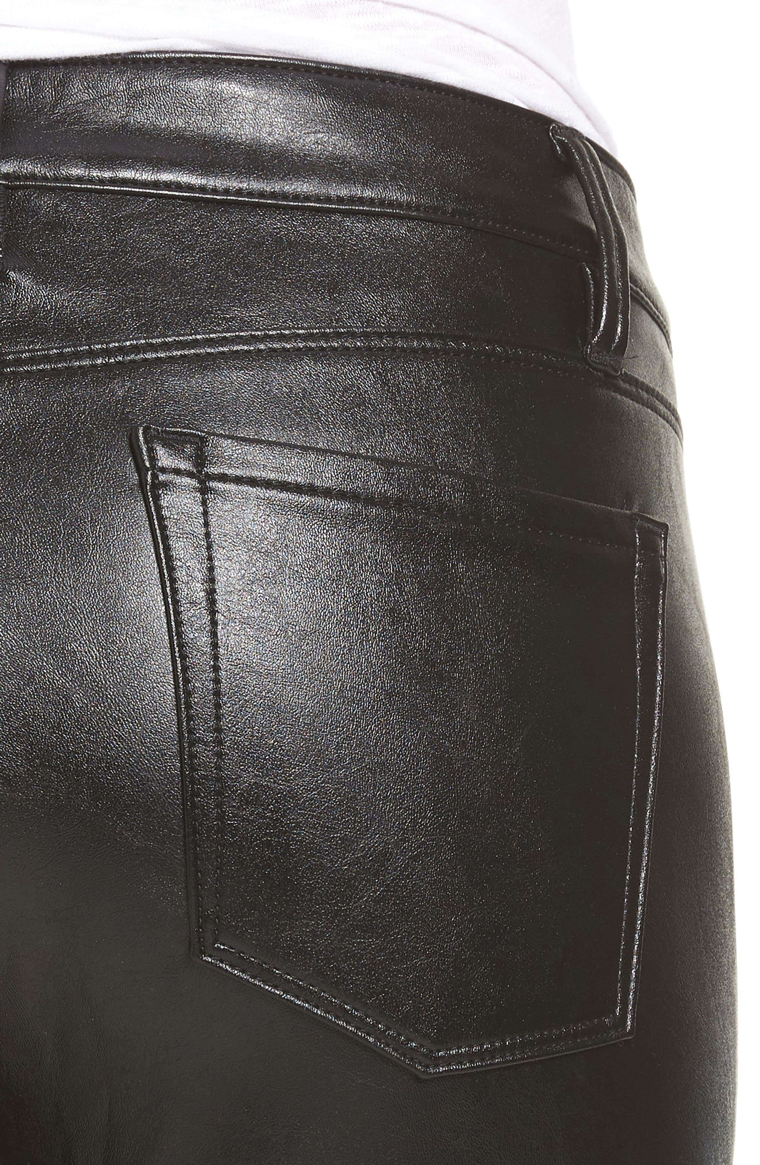 Faux Leather Skinny Jeans,                             Alternate thumbnail 4, color,                             001