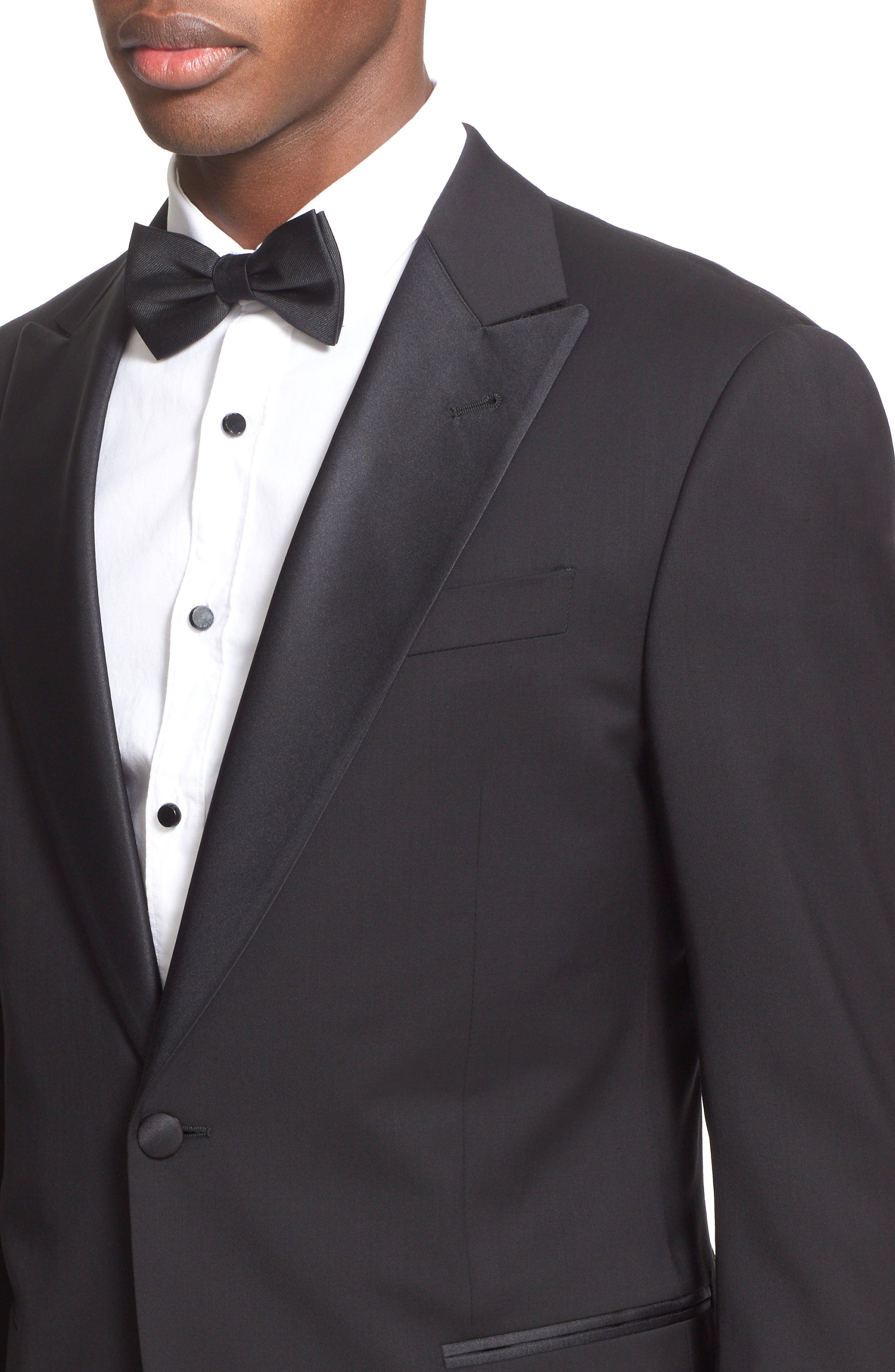 Trim Fit Wool Tuxedo,                             Alternate thumbnail 6, color,                             001