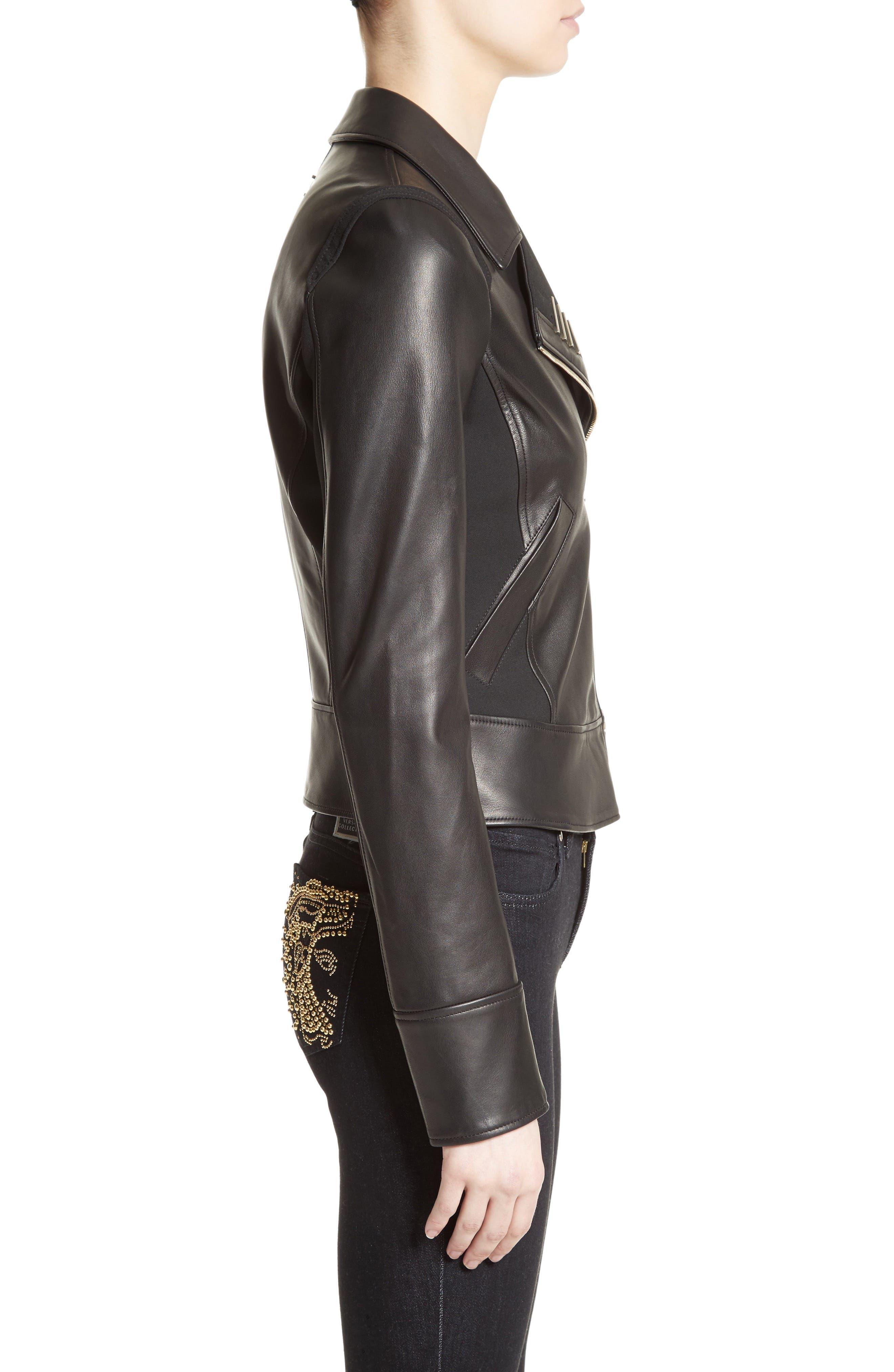 Asymmetrical Zip Leather Jacket,                             Alternate thumbnail 3, color,                             001