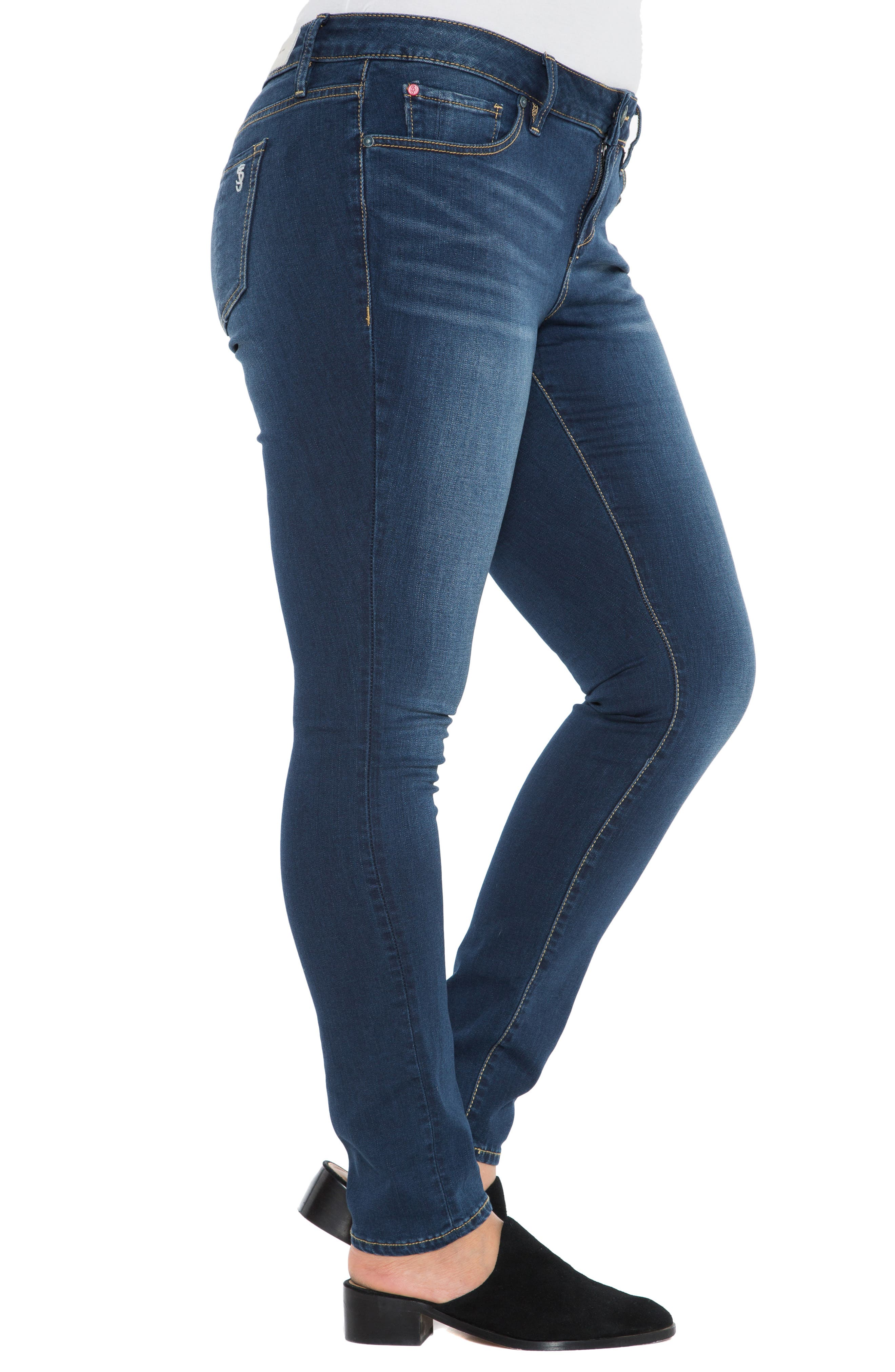 'The Skinny' Stretch Denim Jeans,                             Alternate thumbnail 3, color,                             AMBER