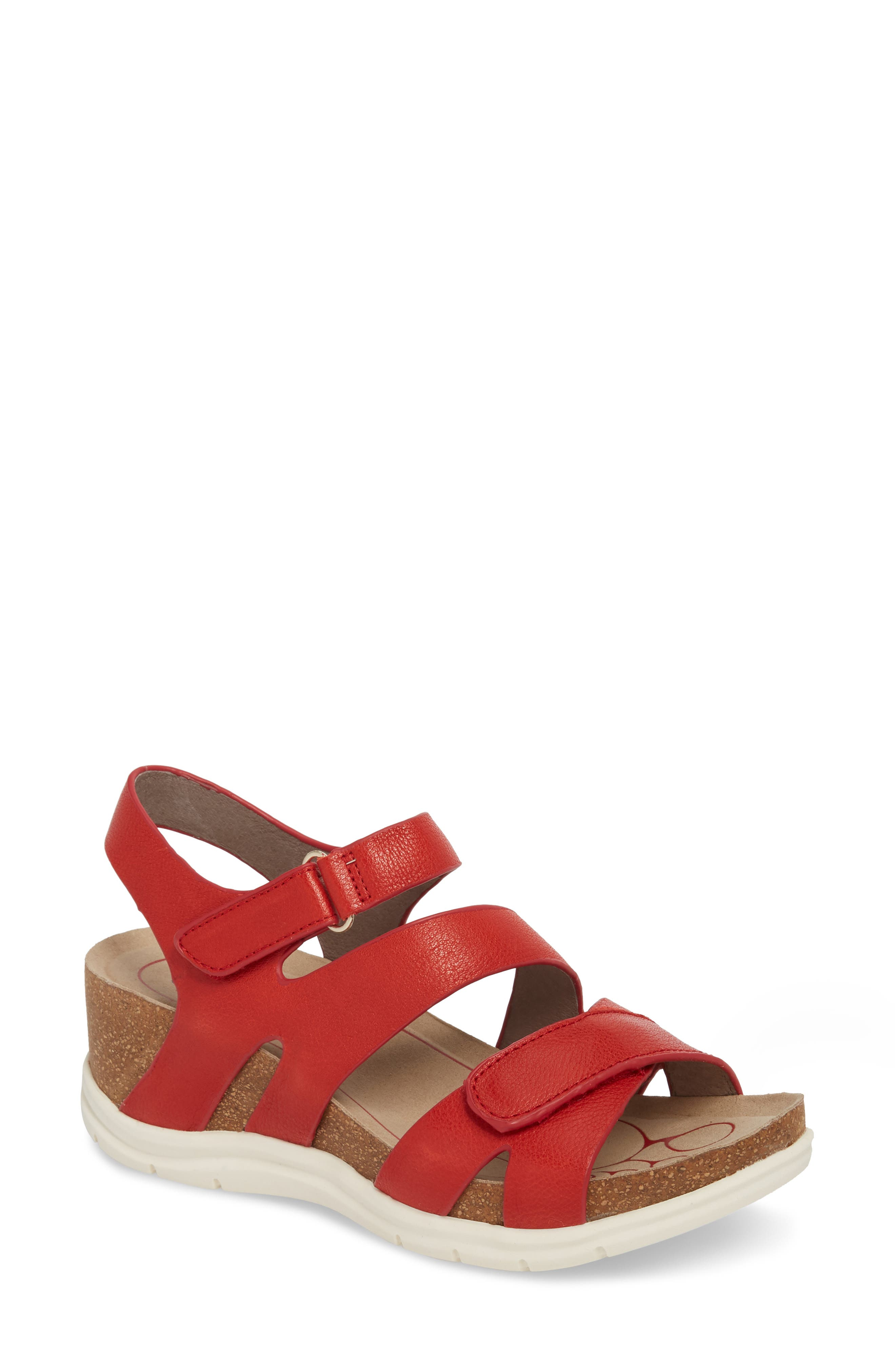 Passion Wedge Sandal,                             Main thumbnail 1, color,                             FIRE RED LEATHER