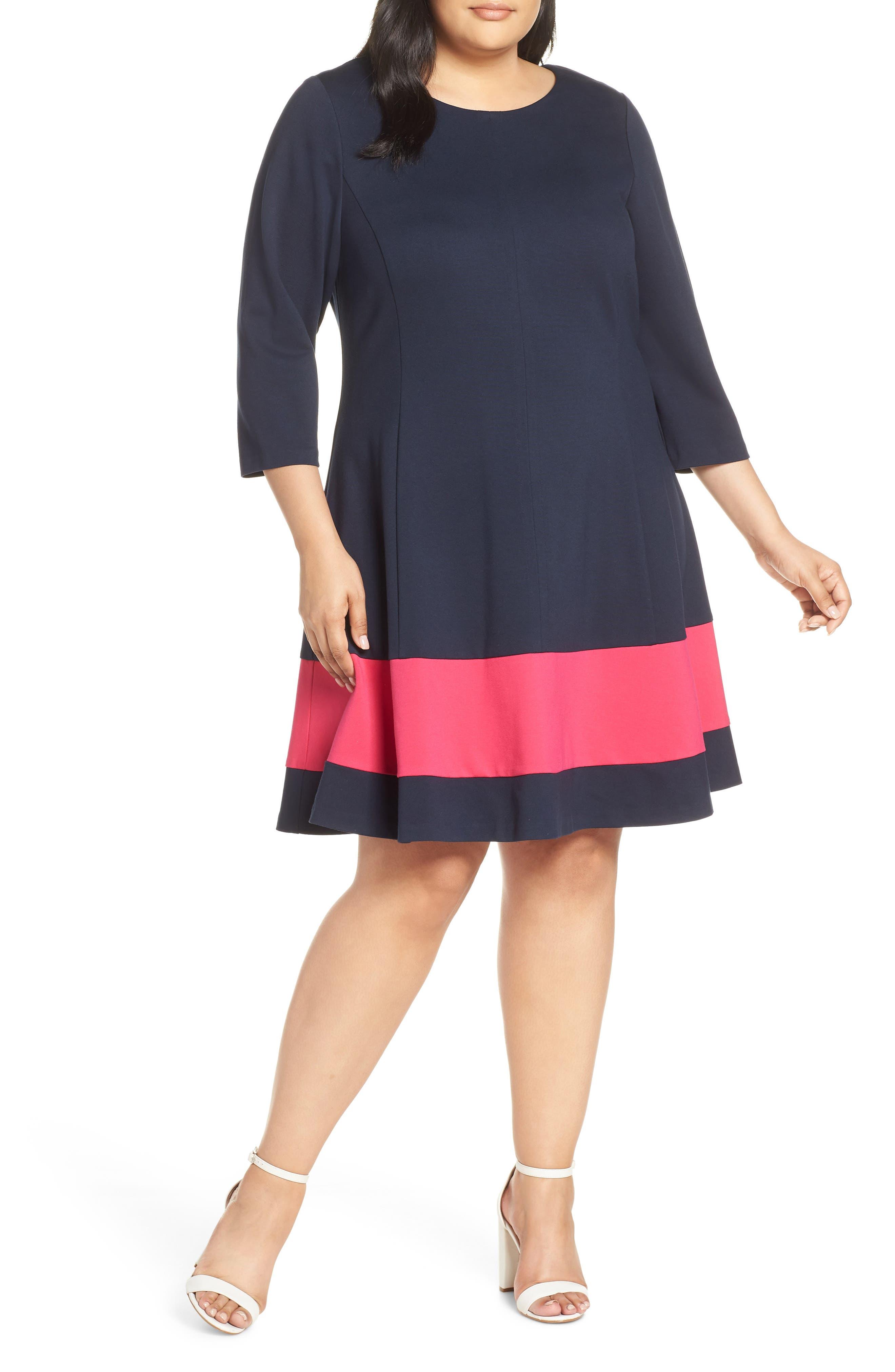Plus Size Eliza J Colorblock Stripe Fit & Flare Dress, Blue