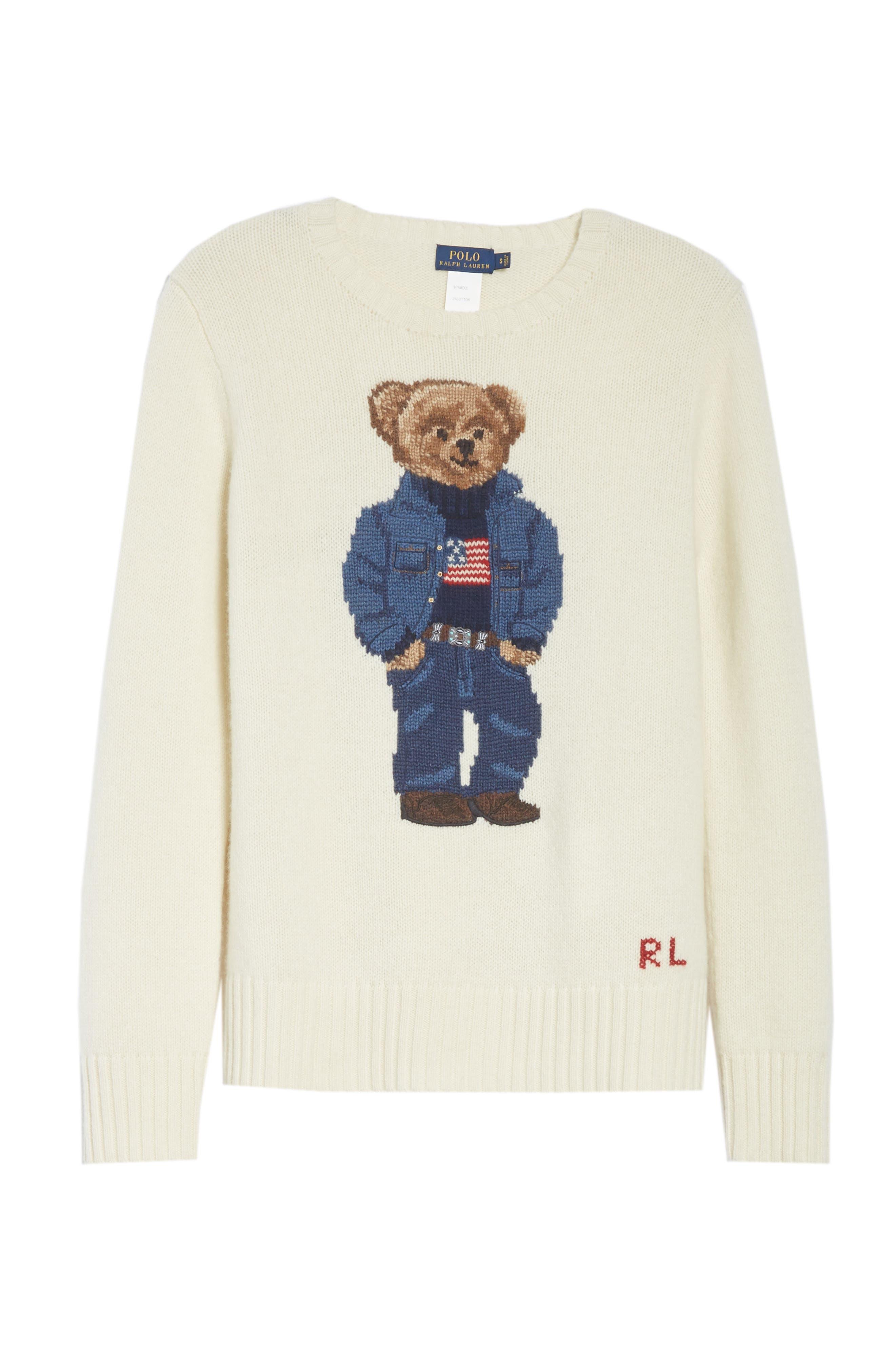 Bear Wool Sweater,                             Alternate thumbnail 6, color,                             CREAM