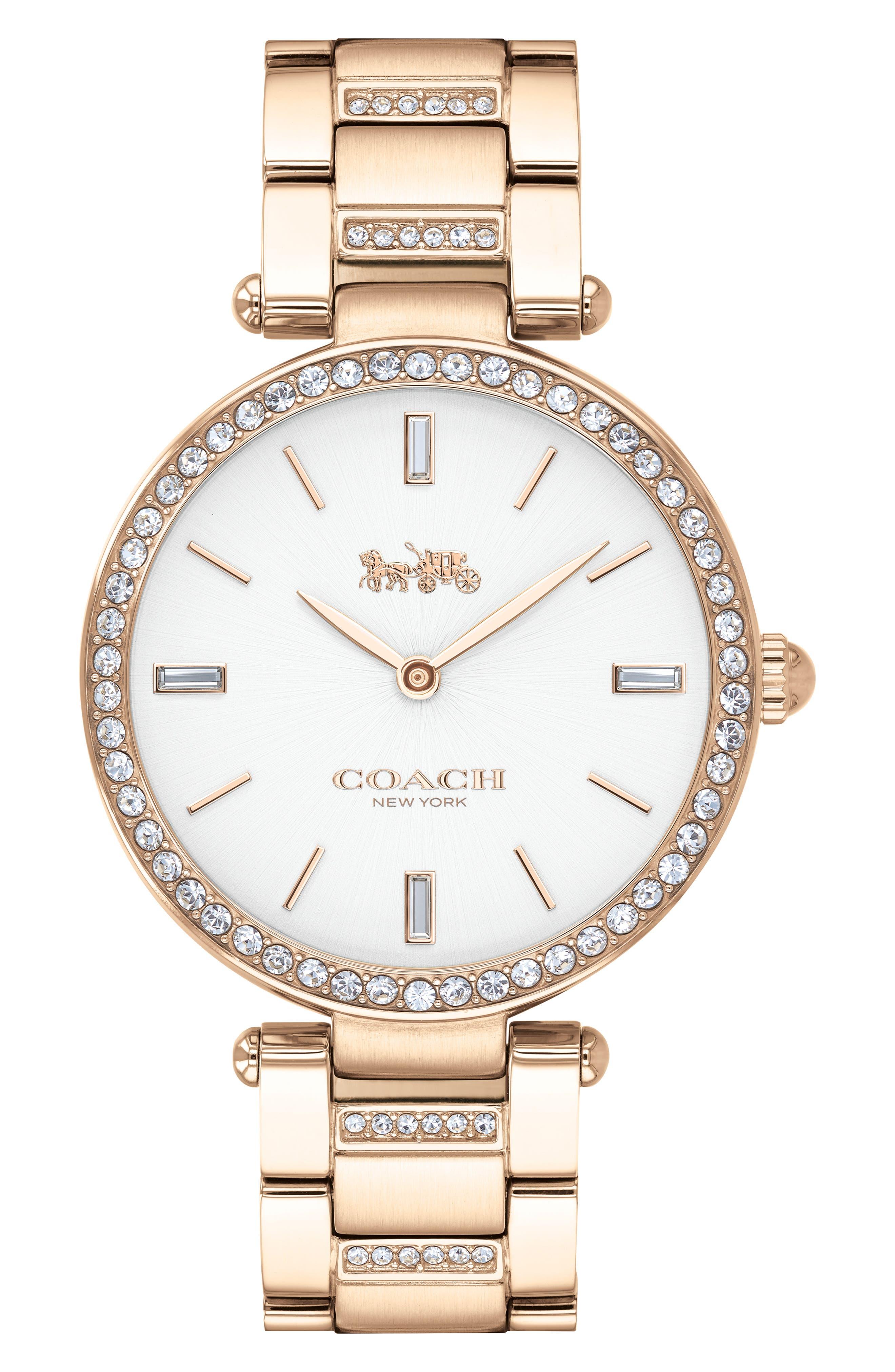 Park Bracelet Watch, 34mm,                             Main thumbnail 1, color,                             ROSE GOLD/ WHITE/ ROSE GOLD