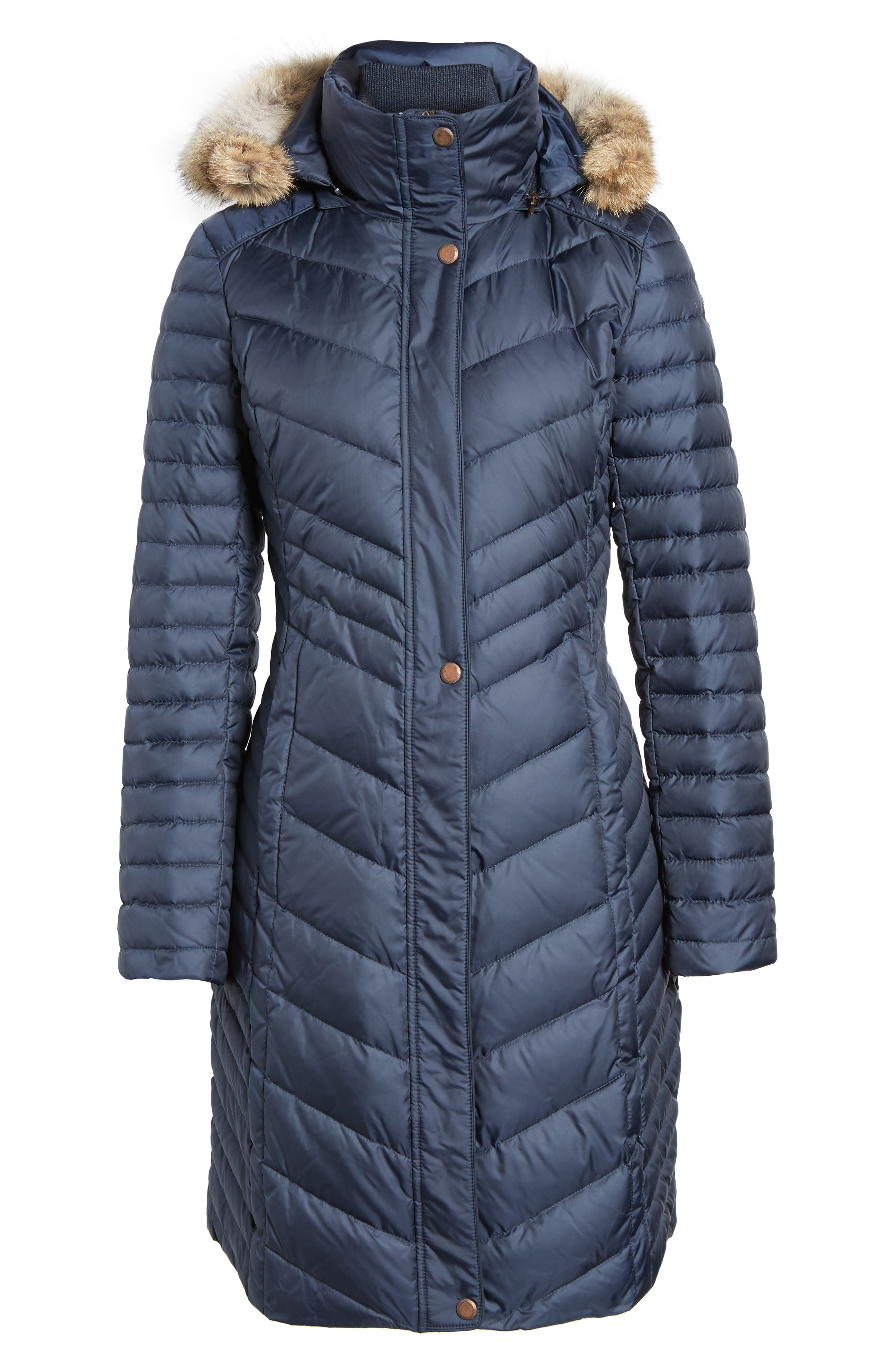 Chevron Quilted Coat with Genuine Coyote Fur Trim,                             Alternate thumbnail 15, color,