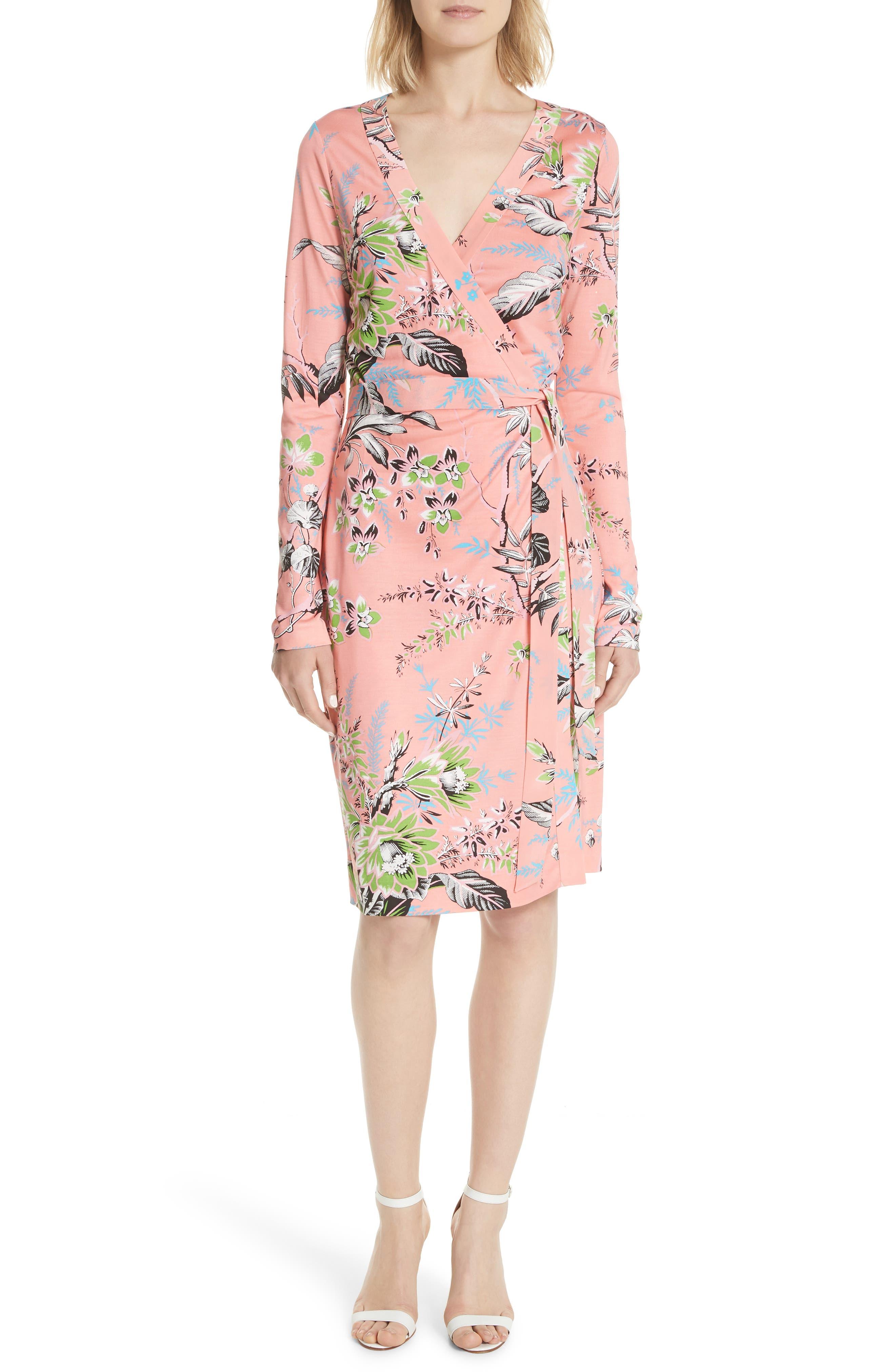 Julian Floral Silk Wrap Dress,                         Main,                         color,