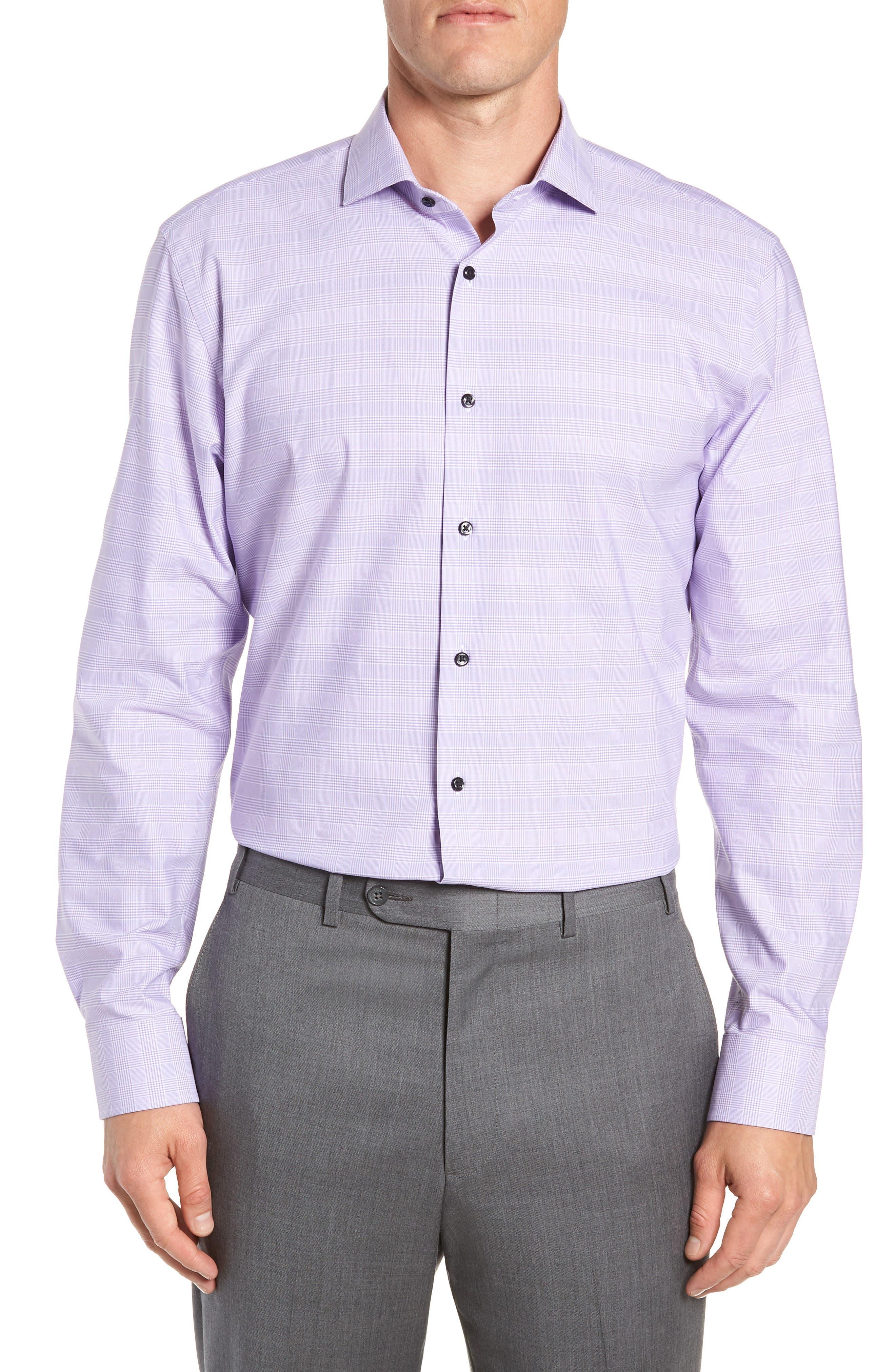 Tech-Smart Trim Fit Stretch Plaid Dress Shirt,                             Main thumbnail 3, color,