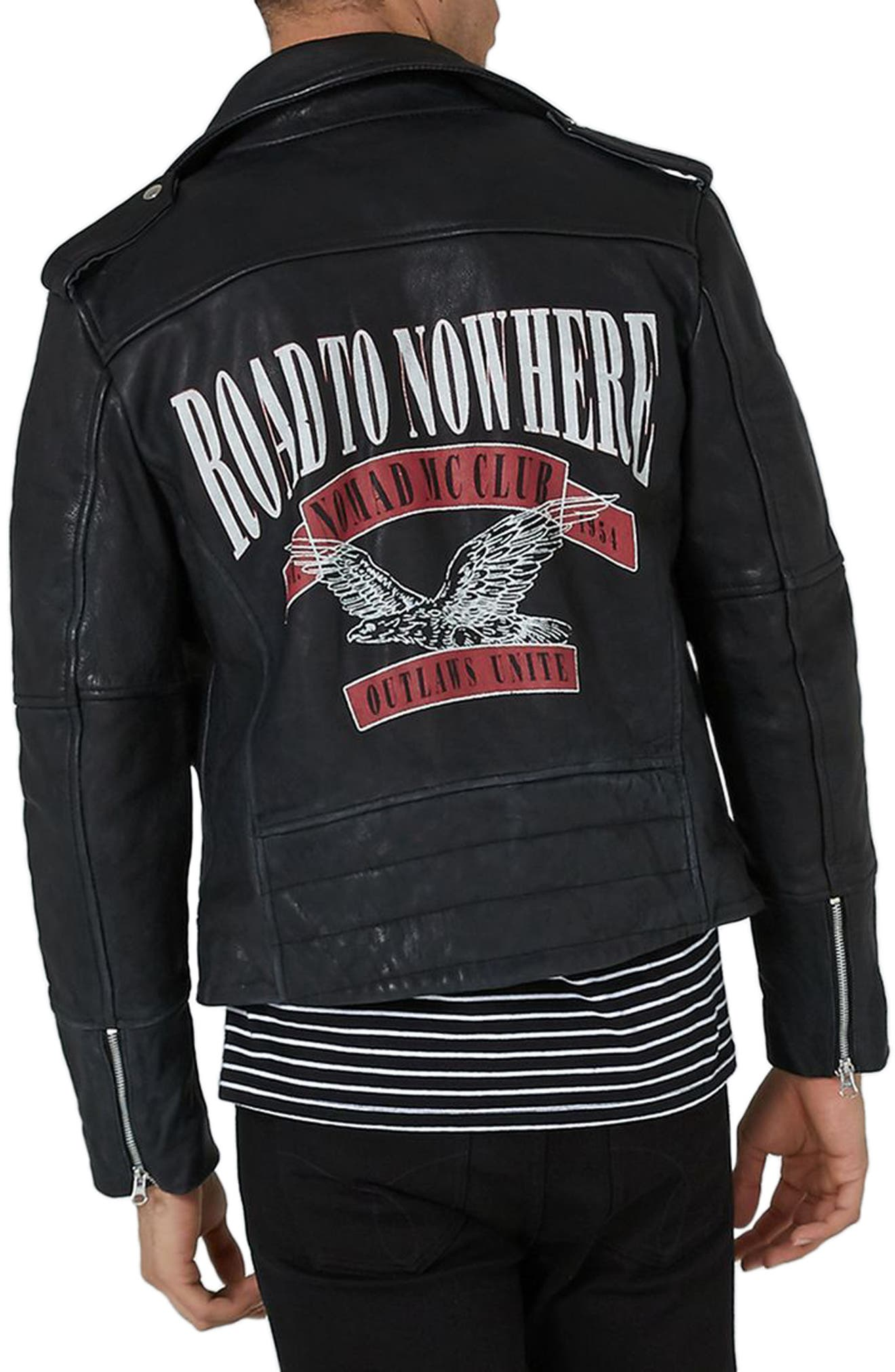 Print Leather Biker Jacket,                             Alternate thumbnail 2, color,