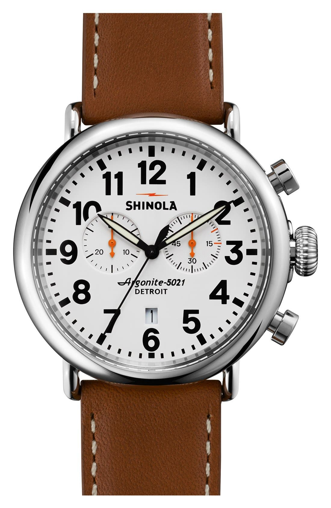 The Runwell Chrono Leather Strap Watch, 47mm,                             Main thumbnail 9, color,