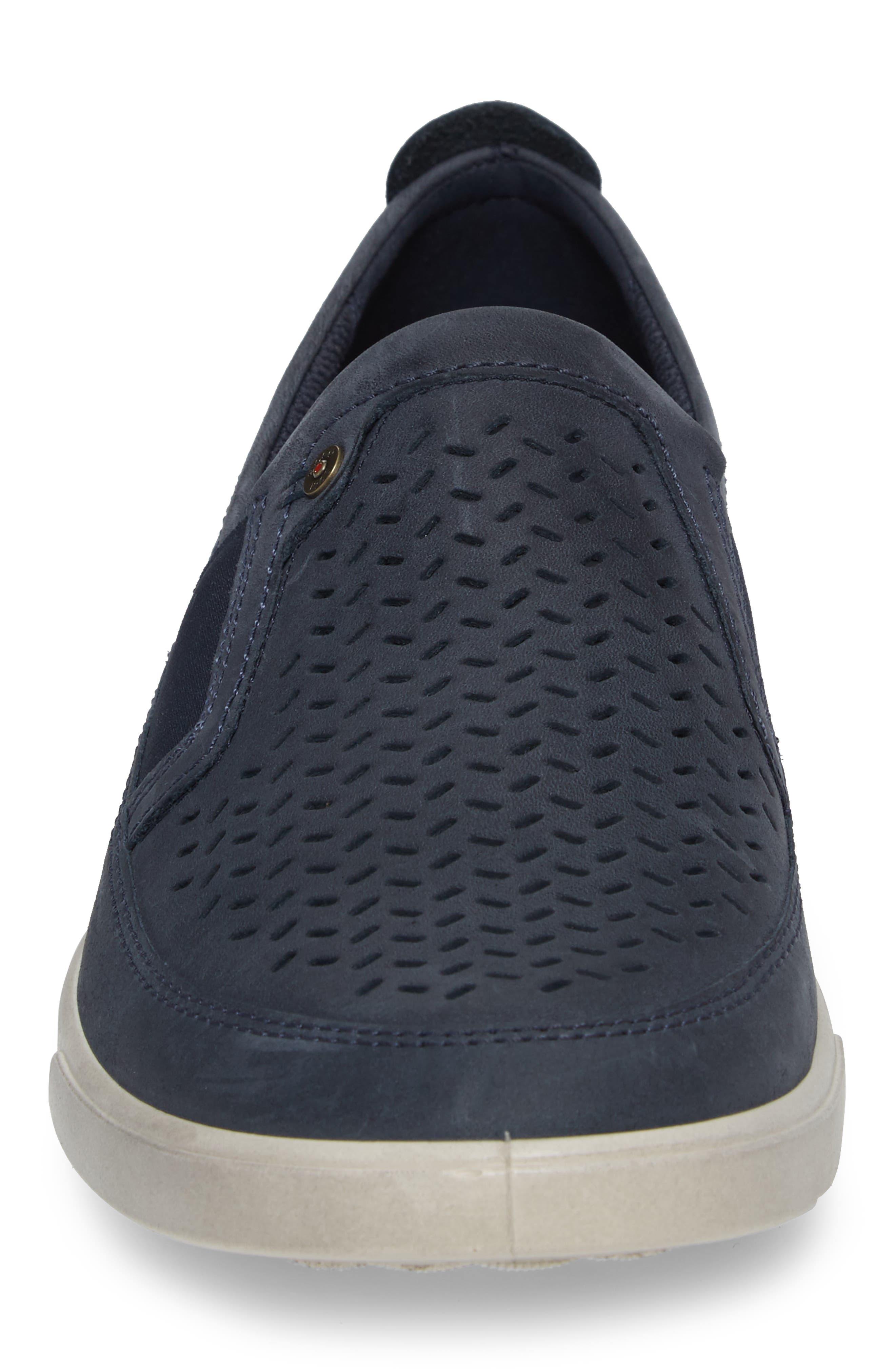 'Collin' Perforated Slip On Sneaker,                             Alternate thumbnail 4, color,                             MARINE LEATHER
