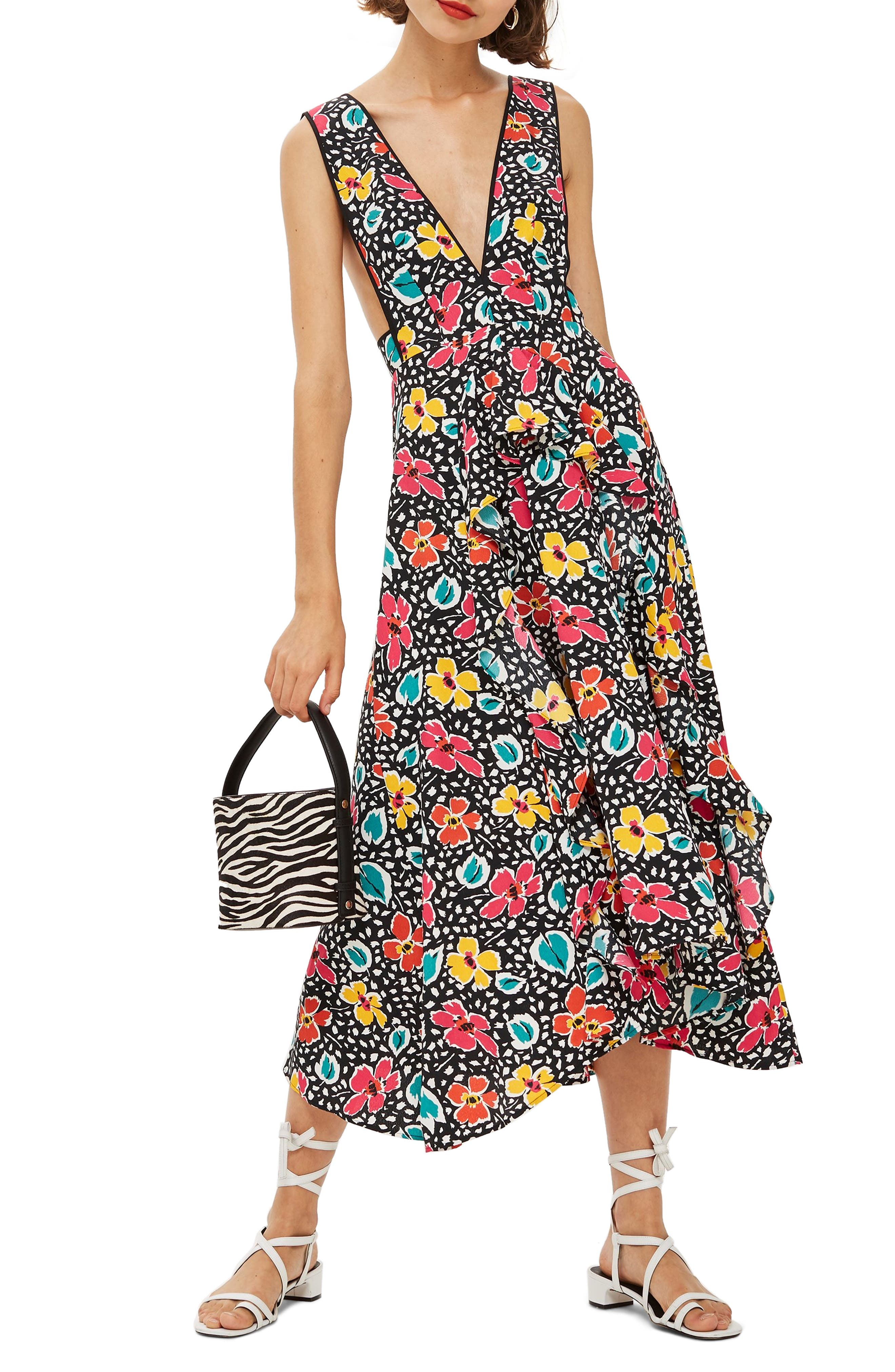Pinafore Midi Dress,                         Main,                         color, BLACK MULTI