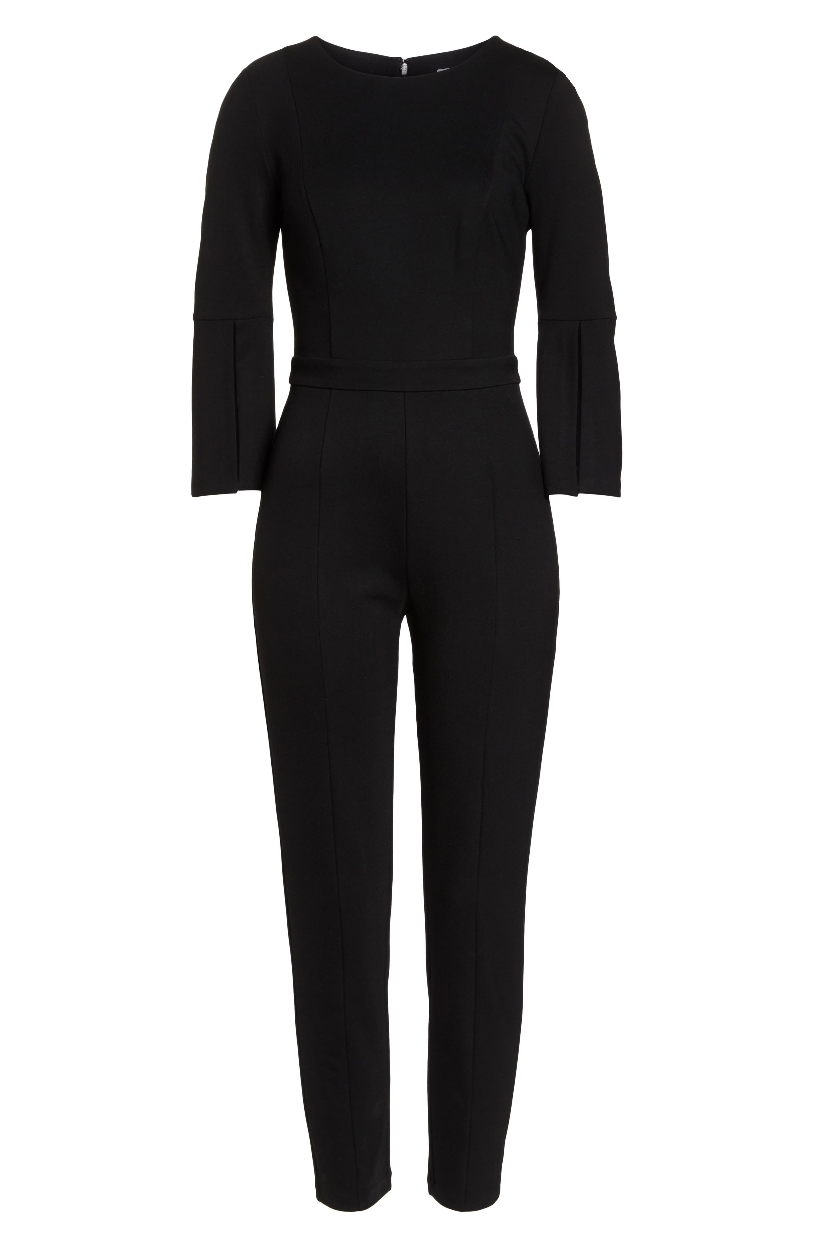 Slit Sleeve Slim Leg Jumpsuit,                             Alternate thumbnail 7, color,                             BLACK
