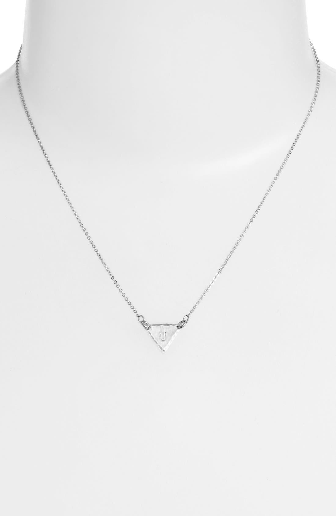 Sterling Silver Initial Mini Triangle Necklace,                             Alternate thumbnail 47, color,