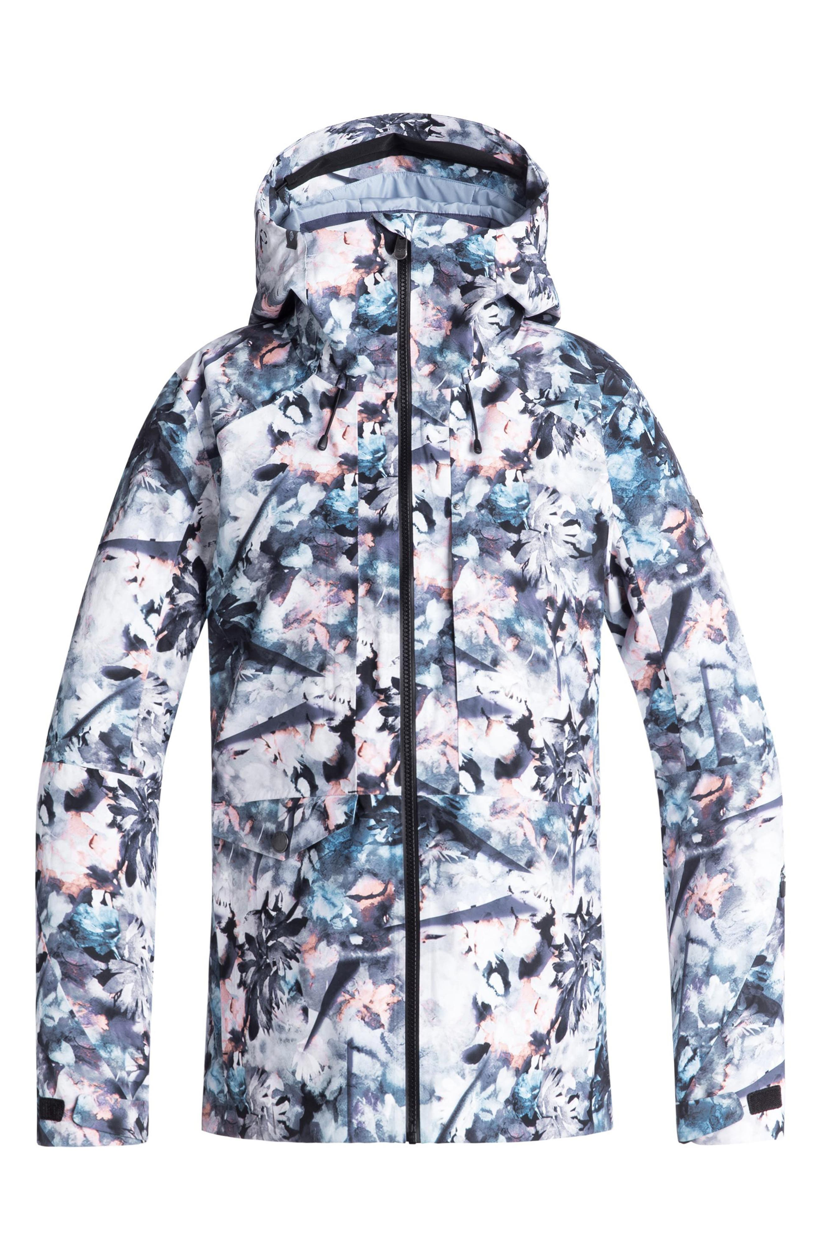 ROXY,                             Essence Tailored Fit 2 Layer Gore-Tex<sup>®</sup> PrimaLoft<sup>®</sup> Black Eco Insulated Snowsports Jacket,                             Main thumbnail 1, color,                             400