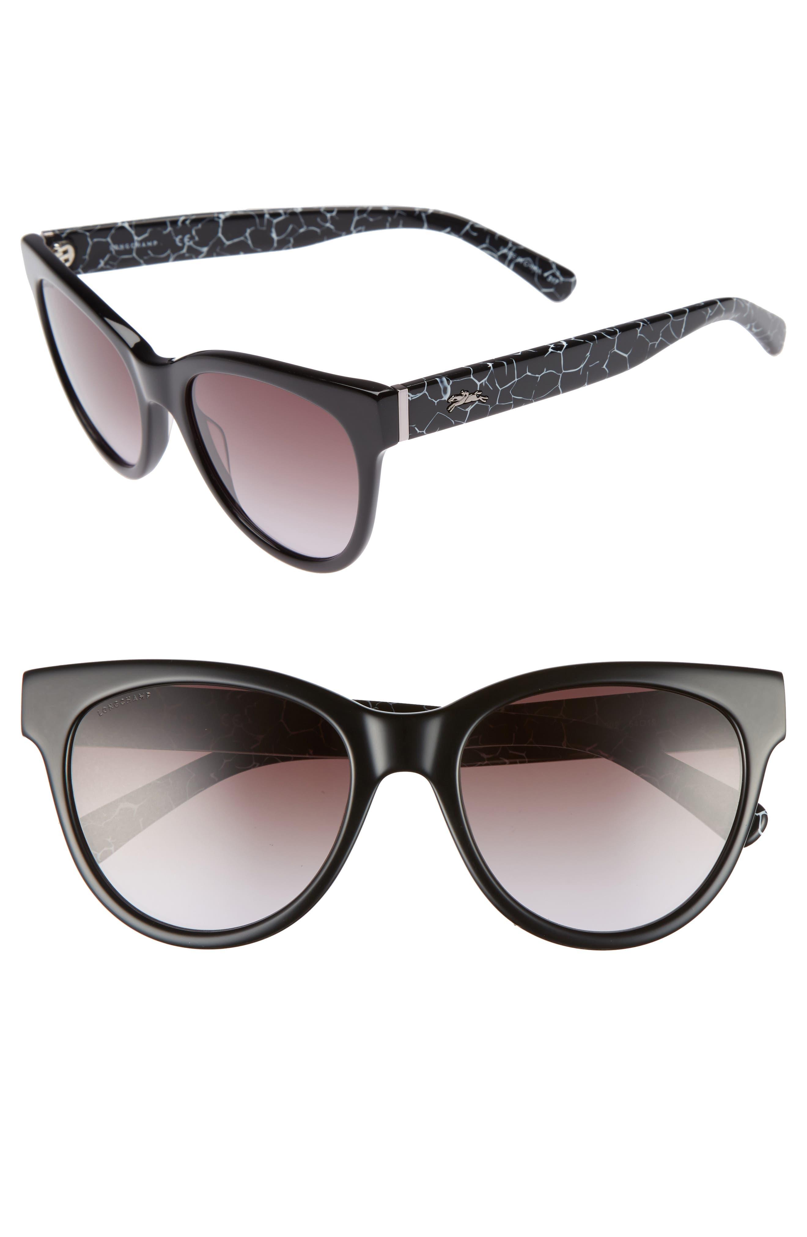 54mm Gradient Lens Cat Eye Sunglasses,                             Main thumbnail 1, color,                             MARBLE BLACK