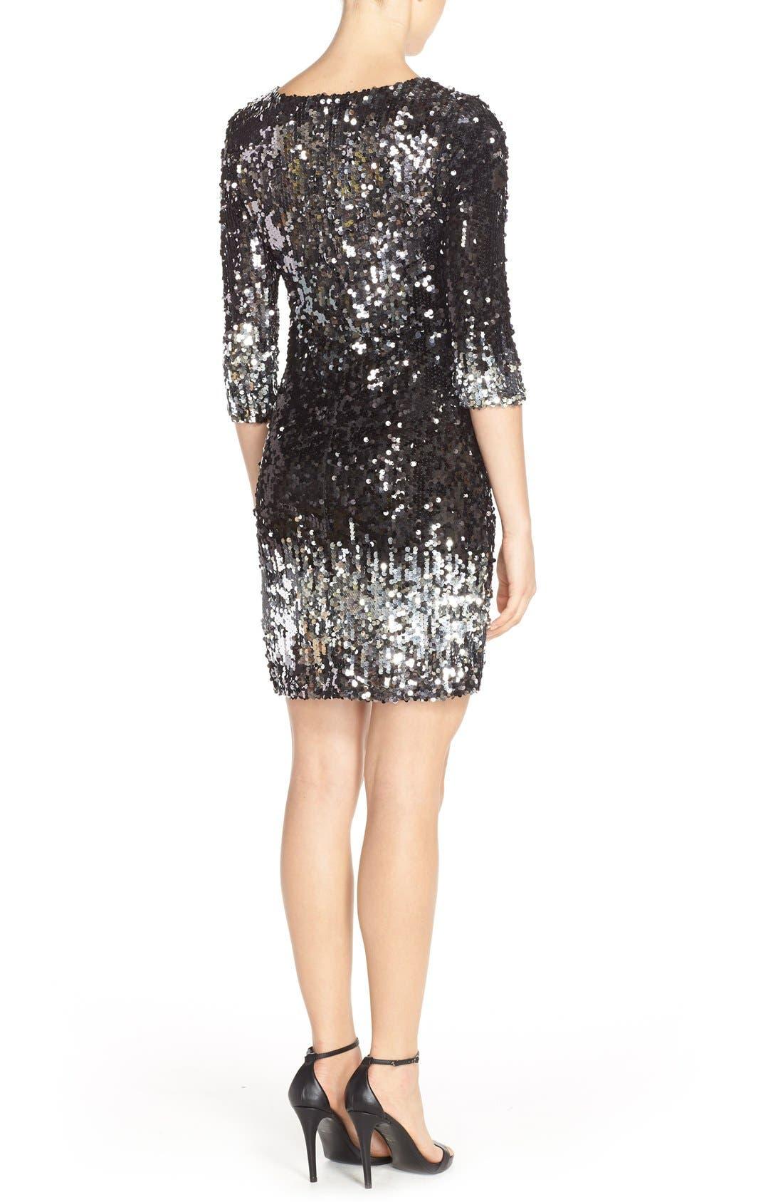 'Elise' Ombré Sequin Sheath Dress,                             Alternate thumbnail 3, color,                             003