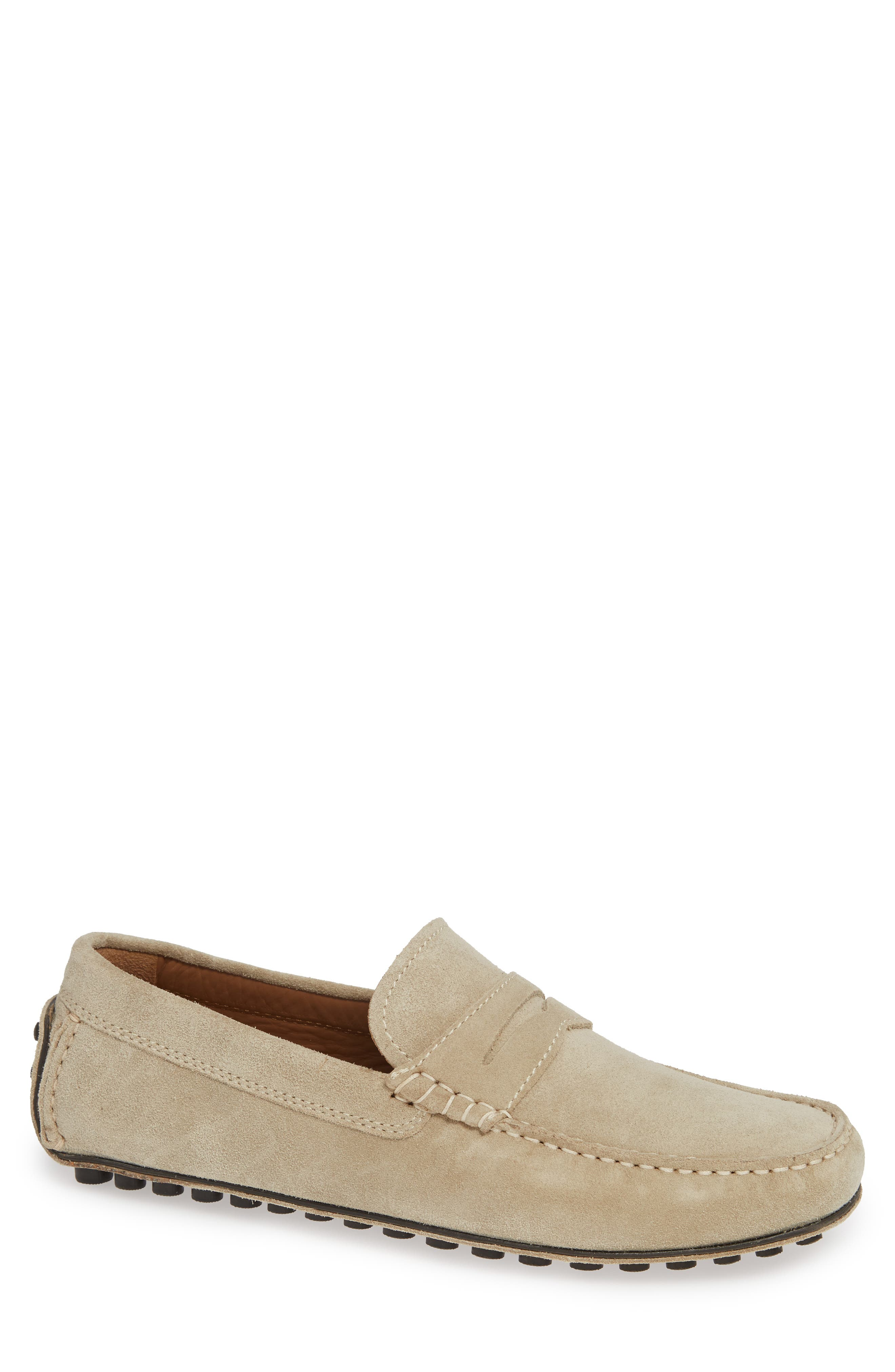 ROBERT TALBOTT Le Mans Penny Driving Loafer in Sand Suede / Leather