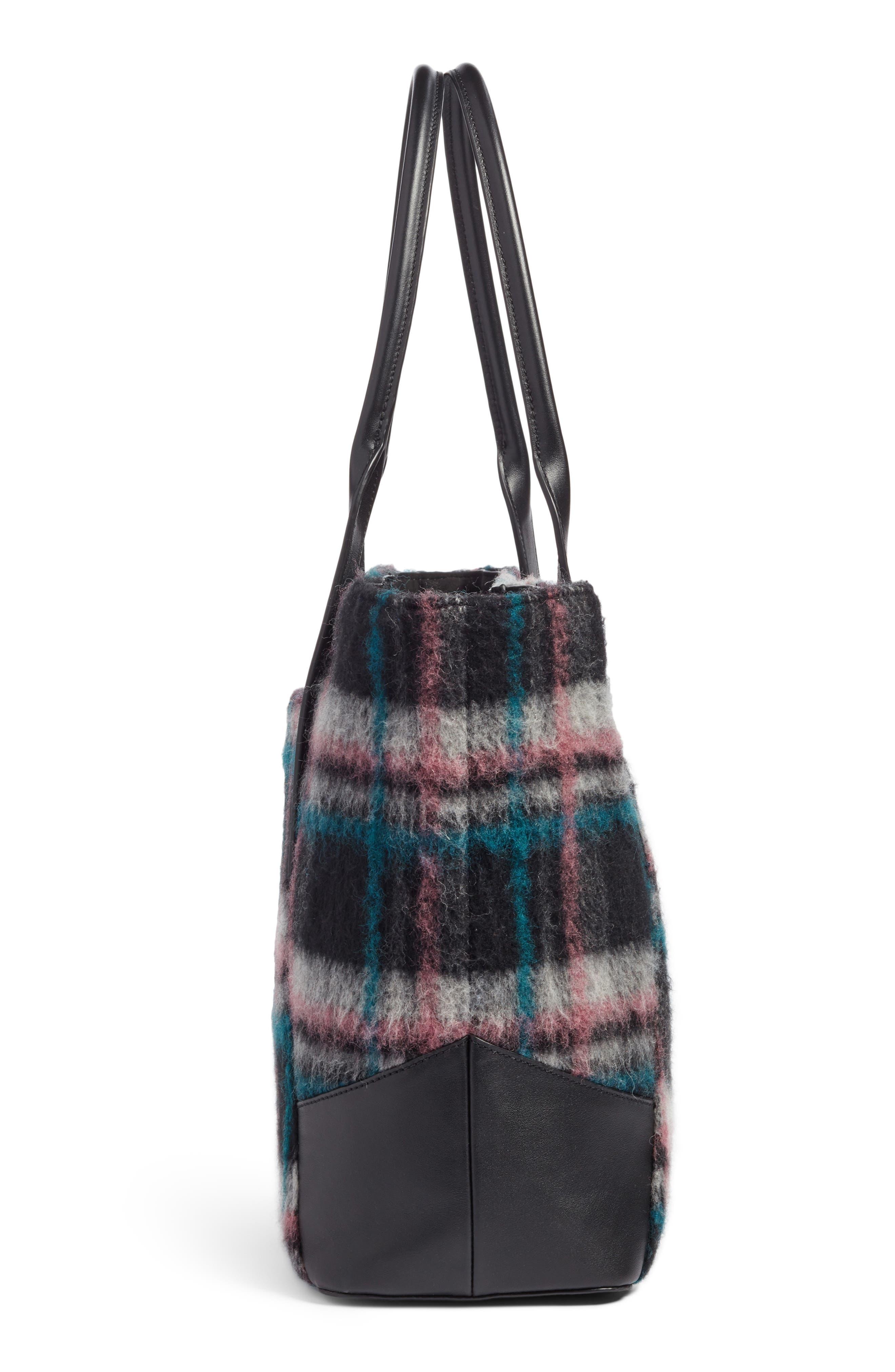 Ashton Plaid Wool & Leather Tote,                             Alternate thumbnail 5, color,                             310