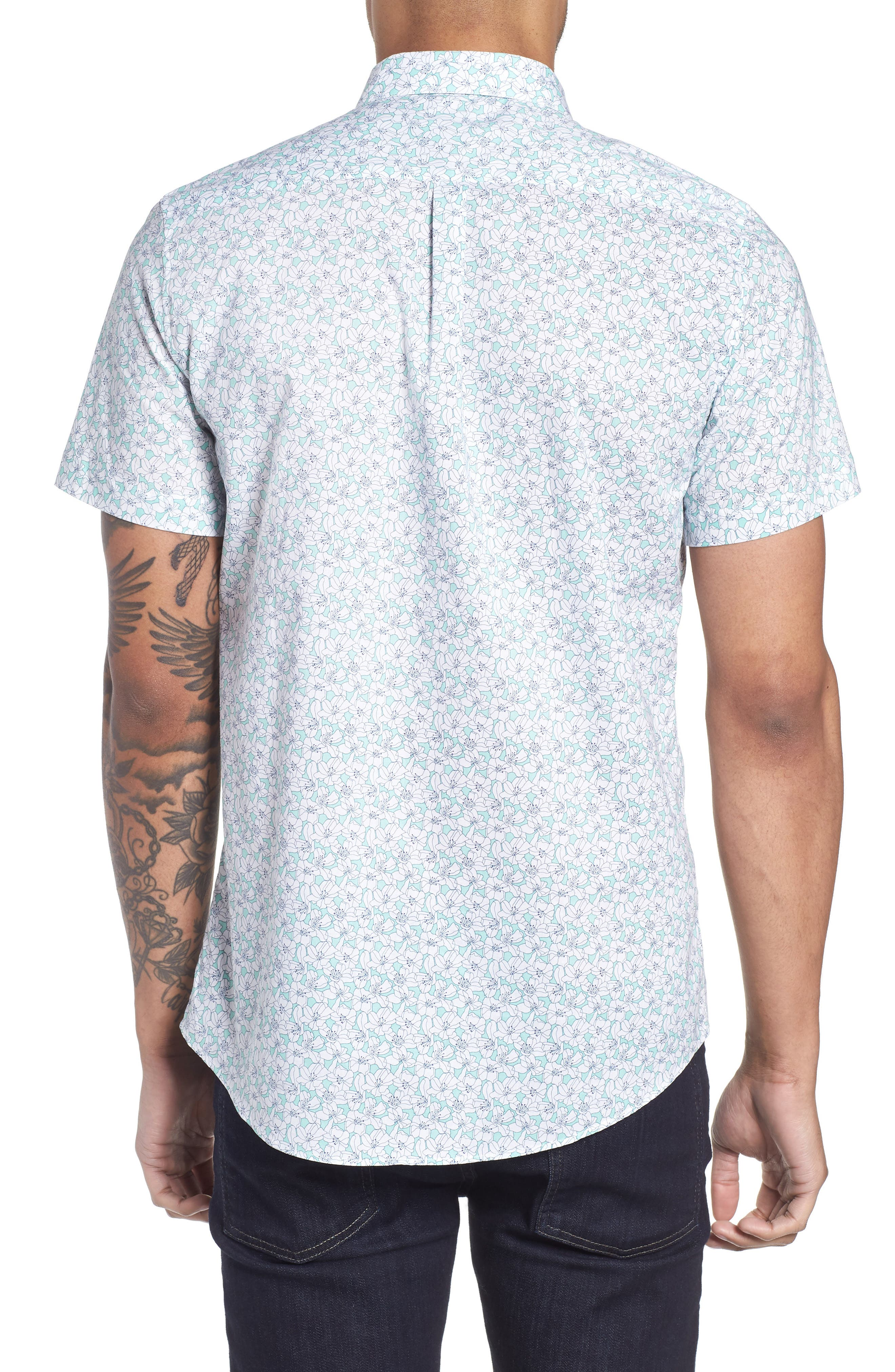 Slim Flit Floral Woven Shirt,                             Alternate thumbnail 2, color,                             332
