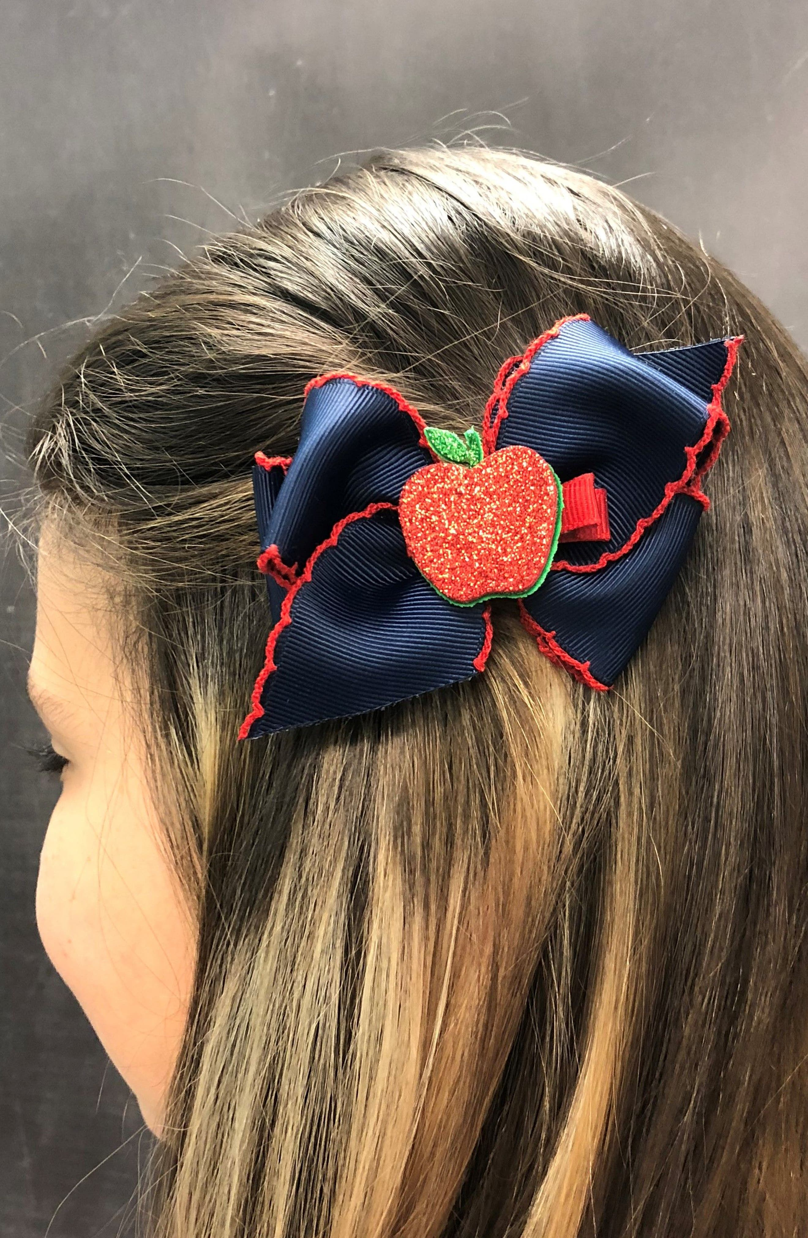 Bow & Apple Hair Clips,                             Alternate thumbnail 3, color,                             NAVY/ RED