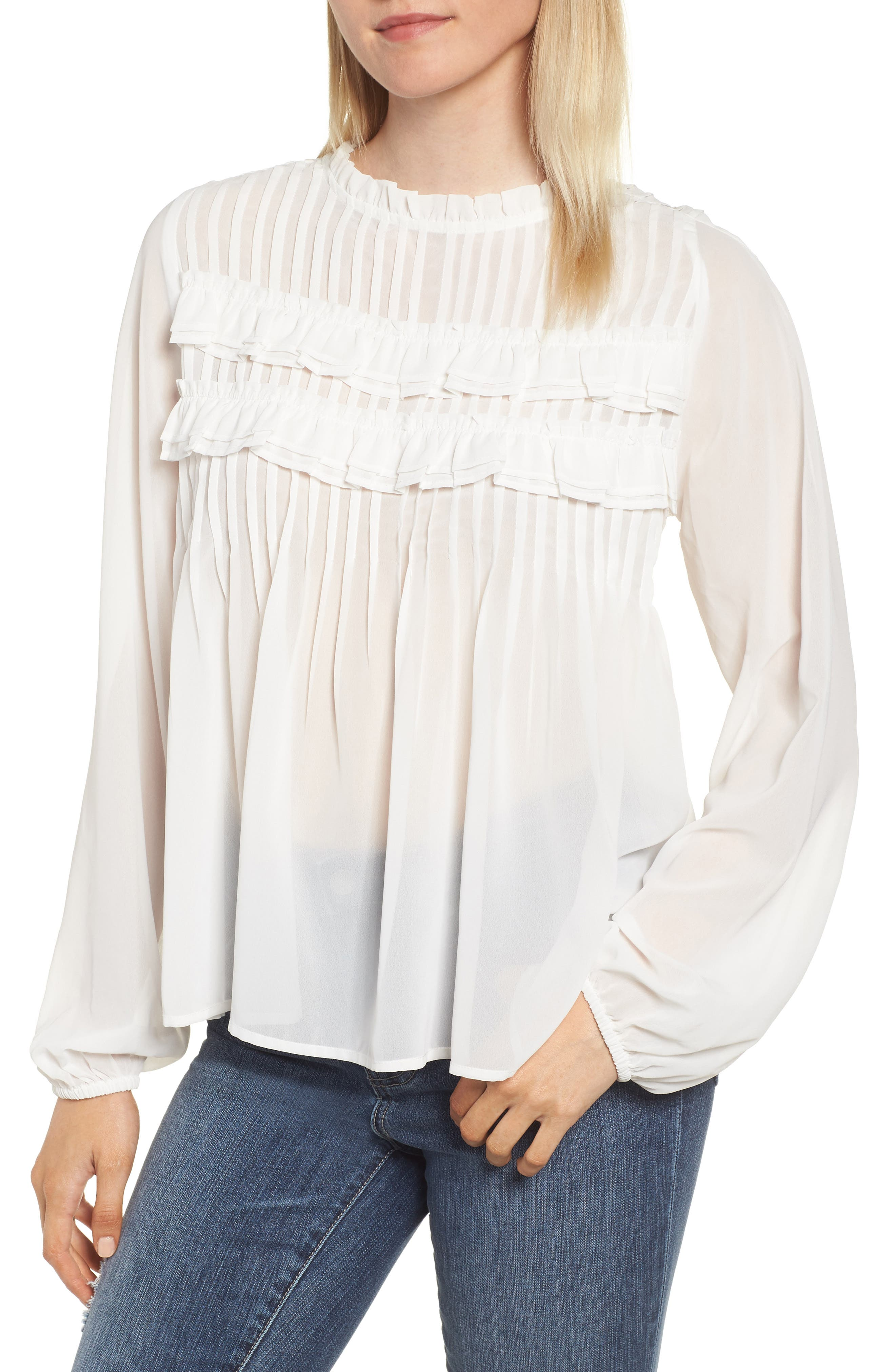 Pintucked Chiffon Blouse,                         Main,                         color, OFF WHITE