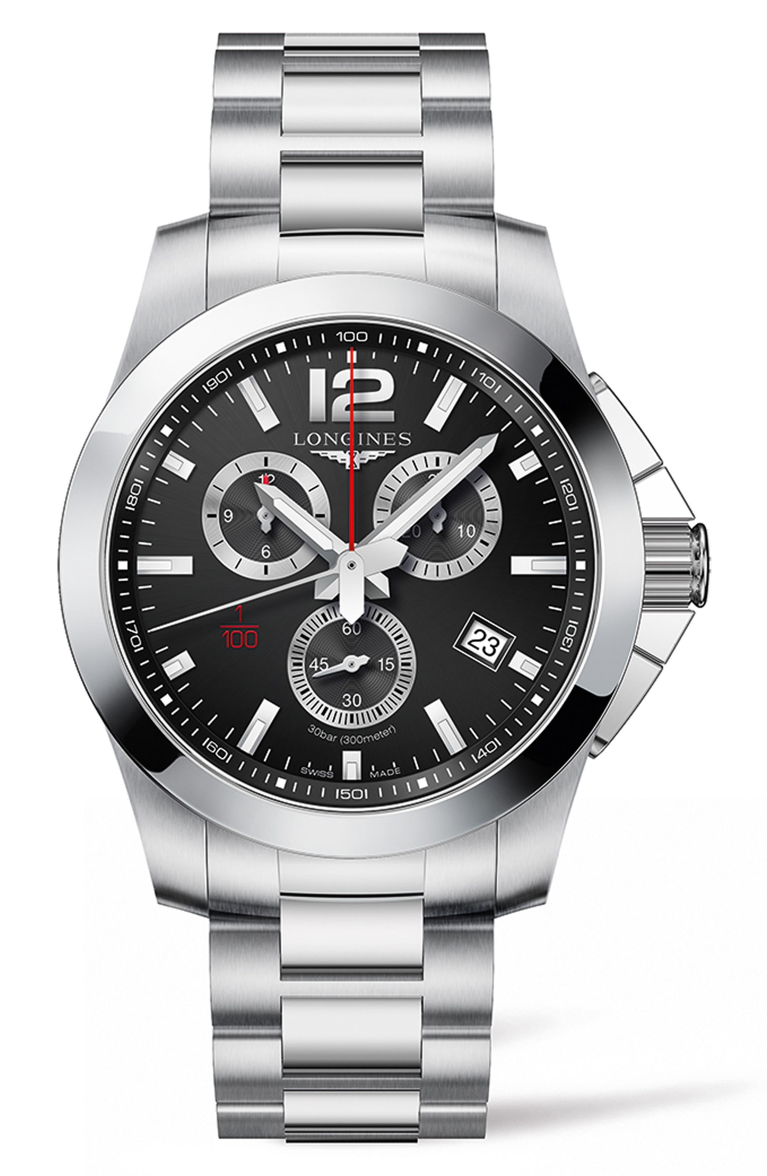Conquest Multifunction Bracelet Watch, 44mm,                         Main,                         color, SILVER/ BLACK/ SILVER