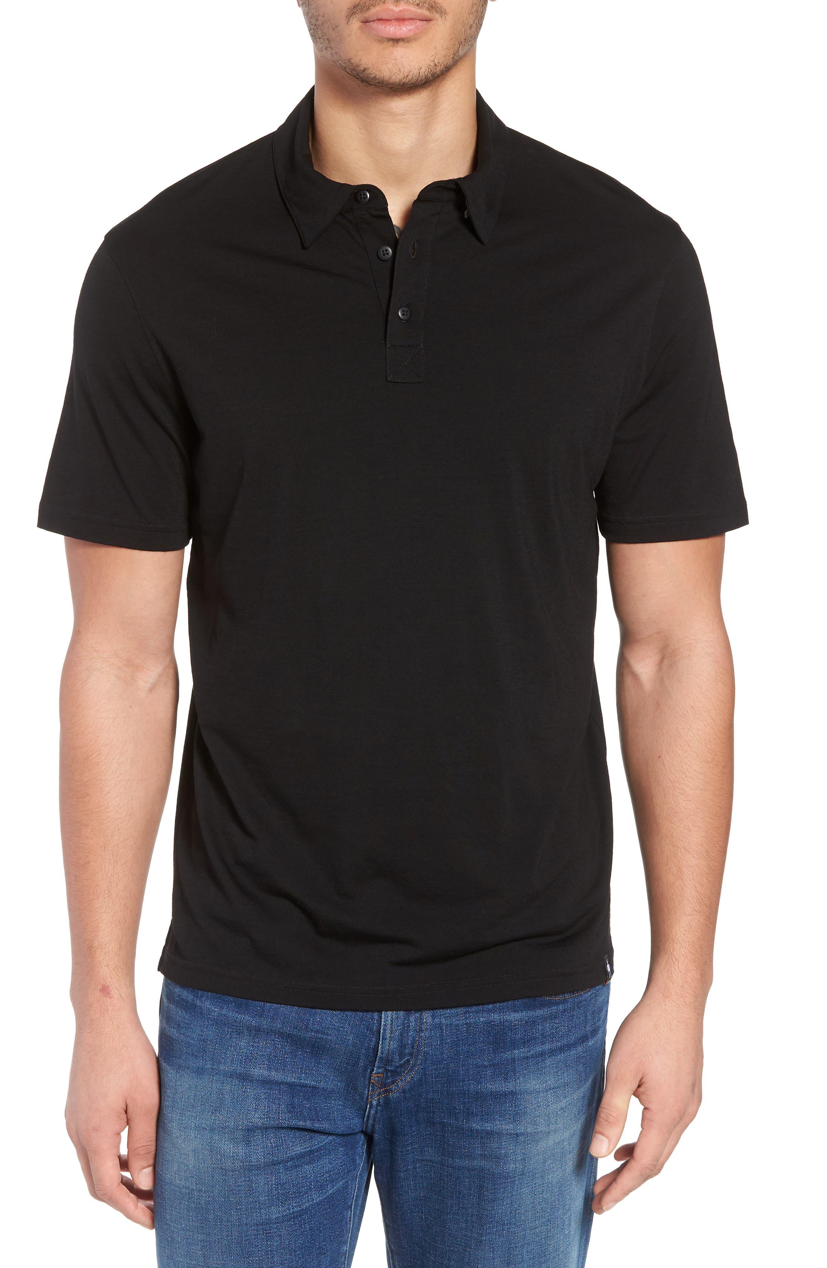 Merino 150 Wool Blend Polo Shirt,                         Main,                         color, BLACK