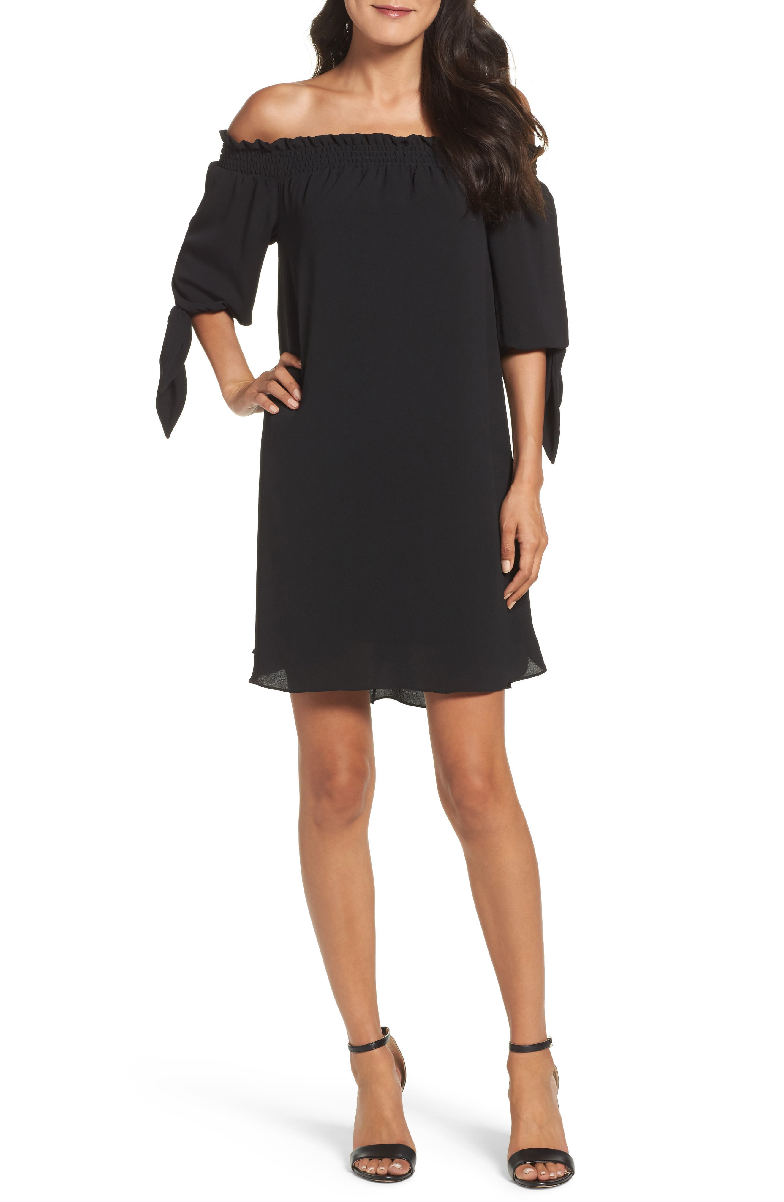 Stretch Crepe Shift Dress,                             Main thumbnail 1, color,                             001